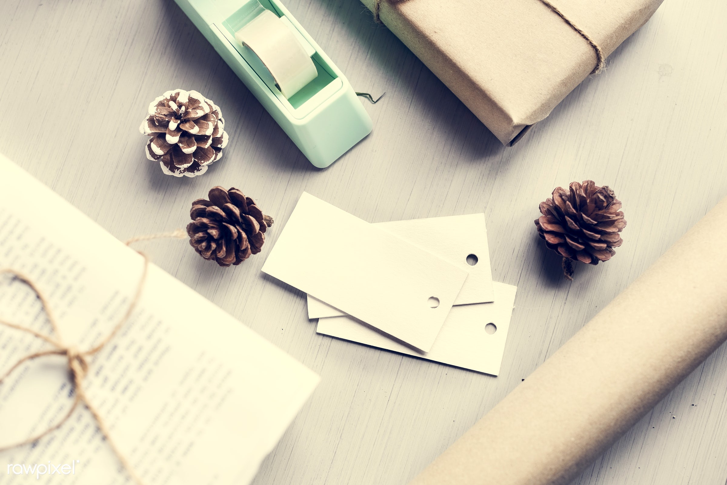 nobody, festive, copy space, gift, wrapped, decorative, packed, give, paper, handicraft, tape, space, cone, wooden...