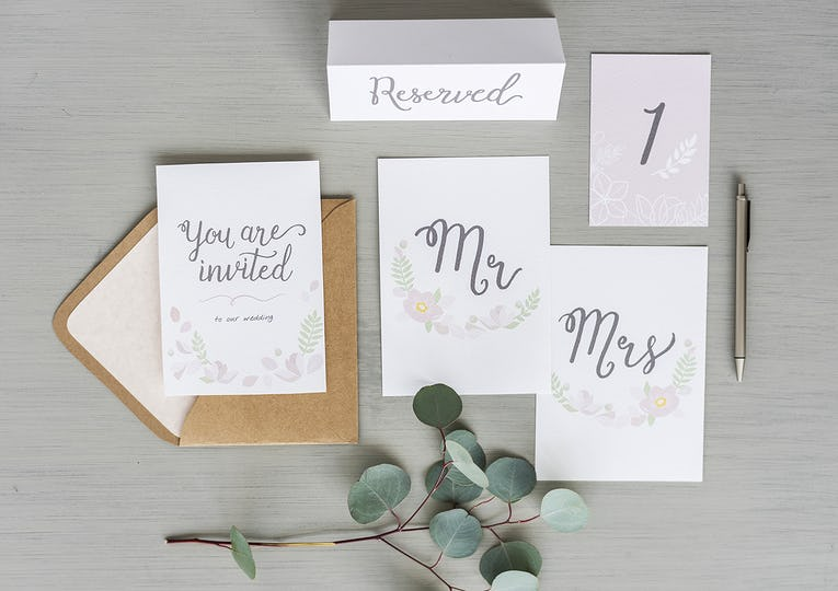 Wedding Card Invitation on Gray Background