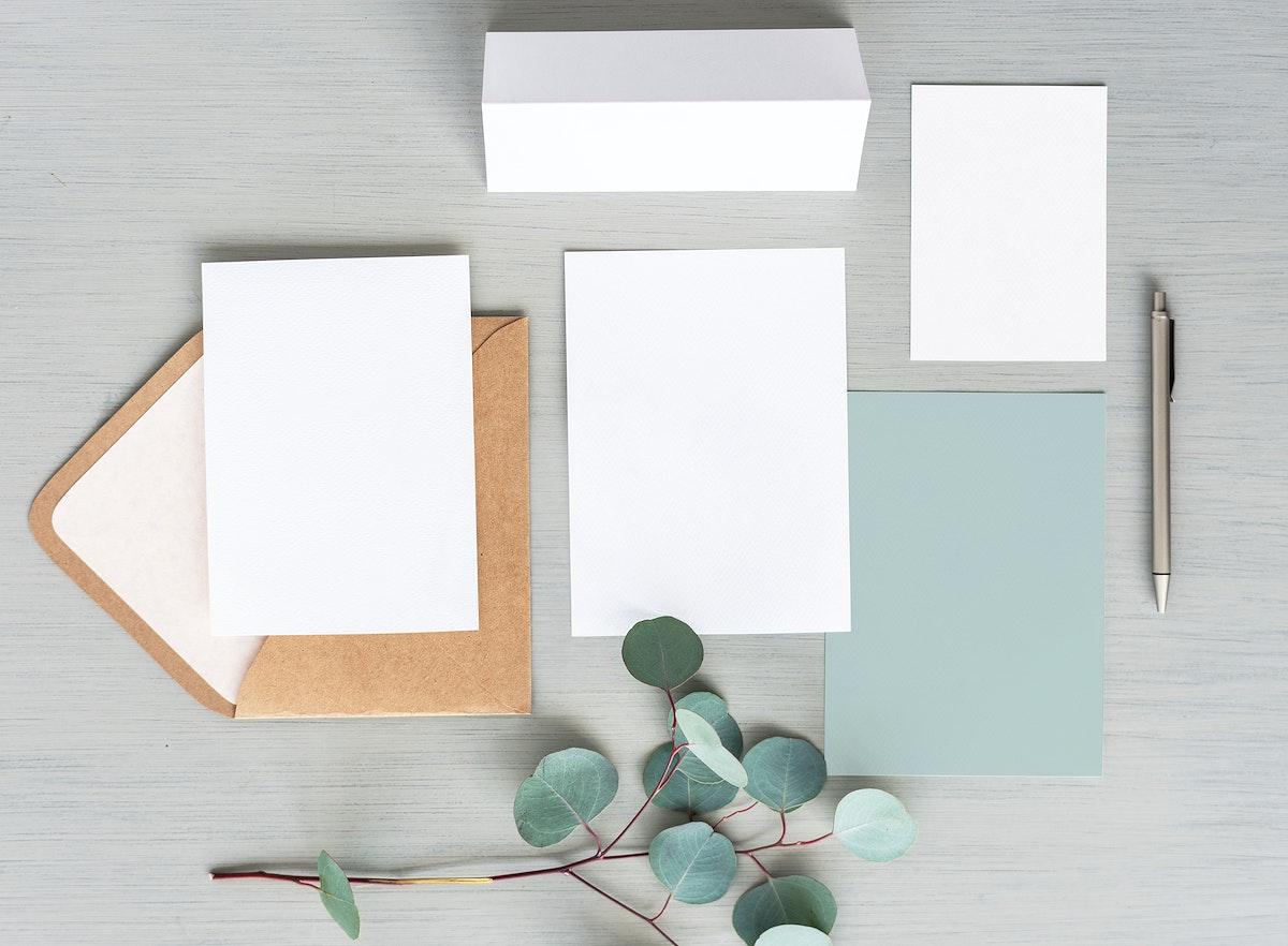 Wedding invitation and cards mockup set