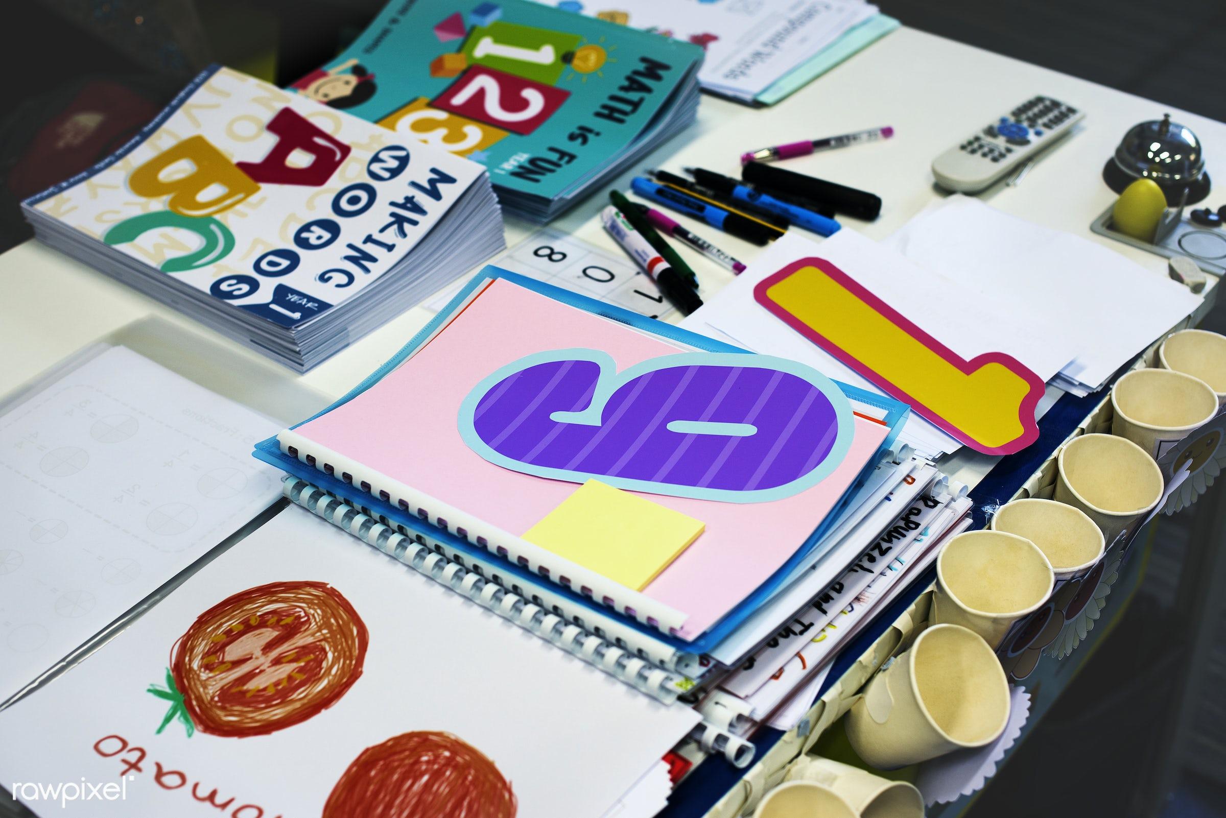 Elementary school classroom - teacher, art, books, children, class, classroom, drawing, education, elementary, kids,...