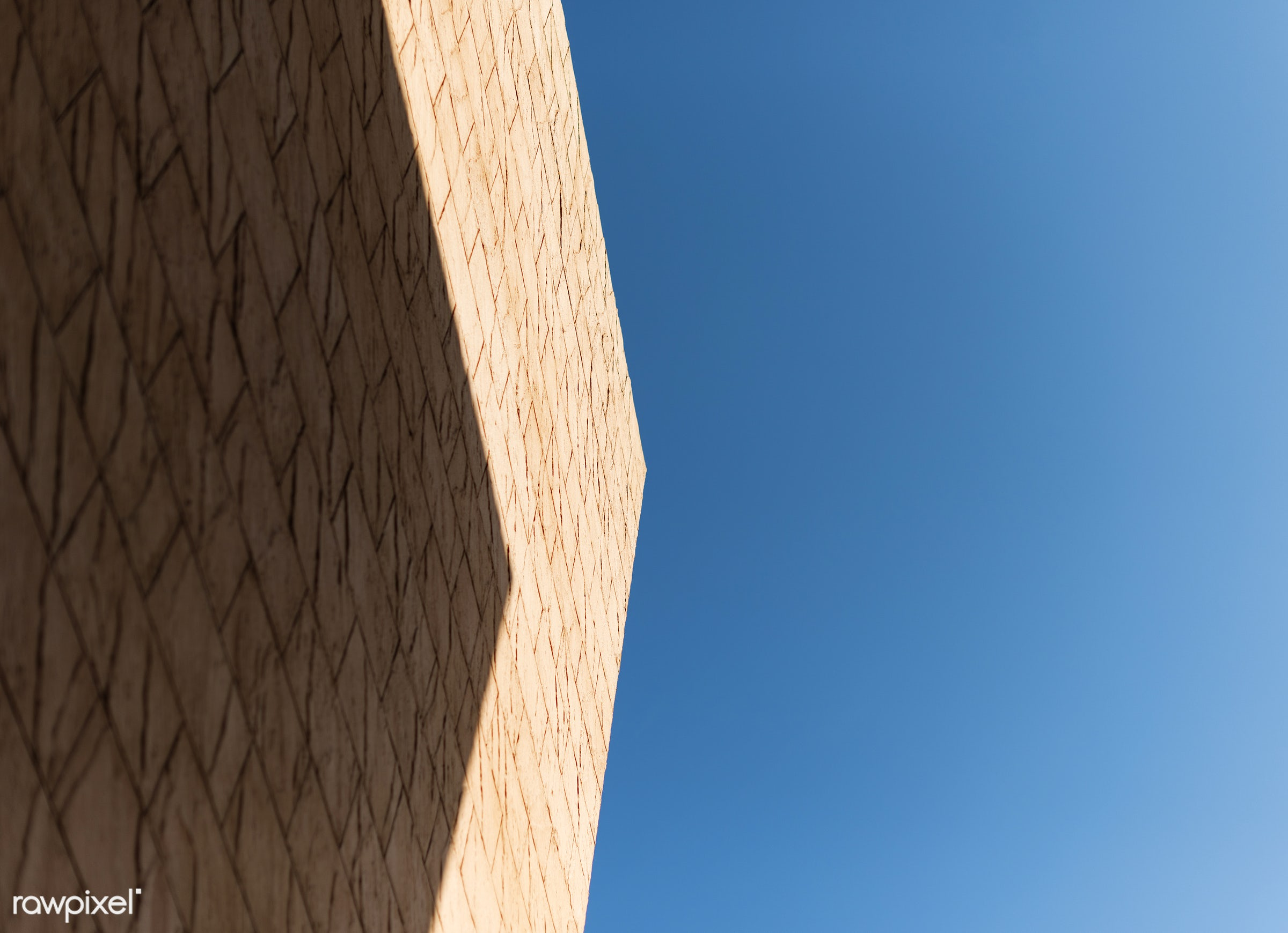 abstract, nobody, building, bright, brown wall, architecture, sky, blue, bricks wall, shadow, outdoors, background, view,...
