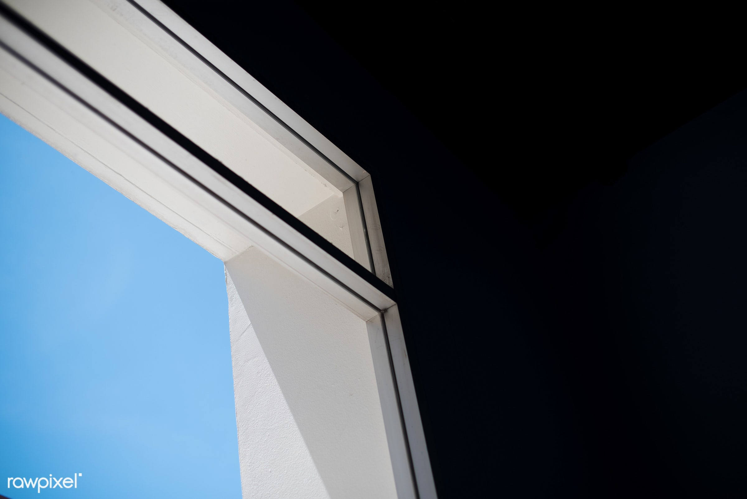 abstract, nobody, building, bright, indoors, through, white wall, frame, sky, window, blue, shadow, outdoors, dark, view,...