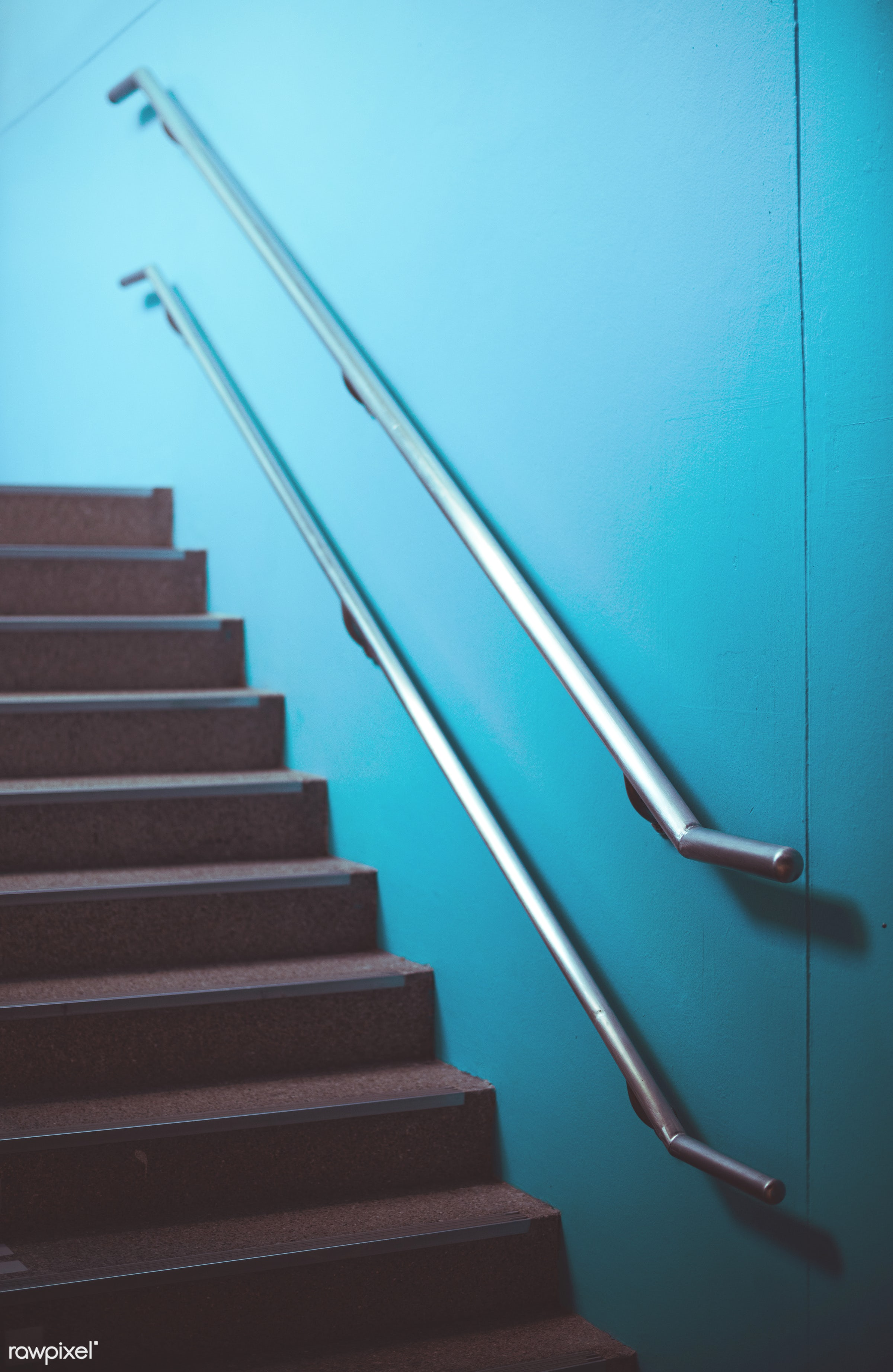stair, building, stairwell, blue wall, steps, architecture, up, stairway, staircase, handrail, walkway, stainless, learn,...