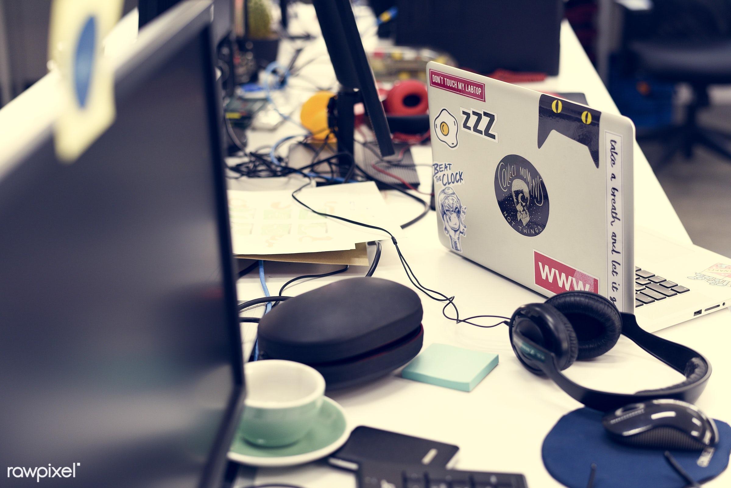 business, coffee, communication, computer, corporate, cup, desk, desktop, device, devices, digital, display, headphone,...