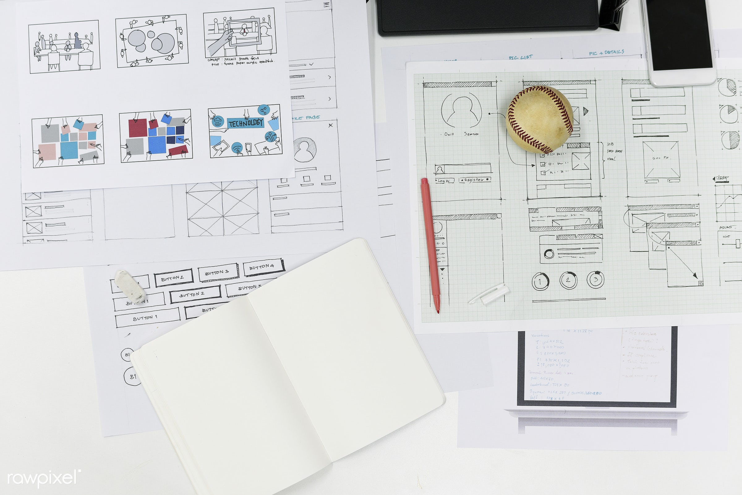 Startup Business Website Content Design Layout on Paper - blank, career, communication, company, connection, copy space,...