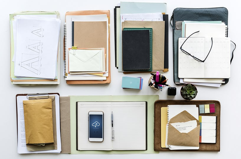 Work desk with stationary