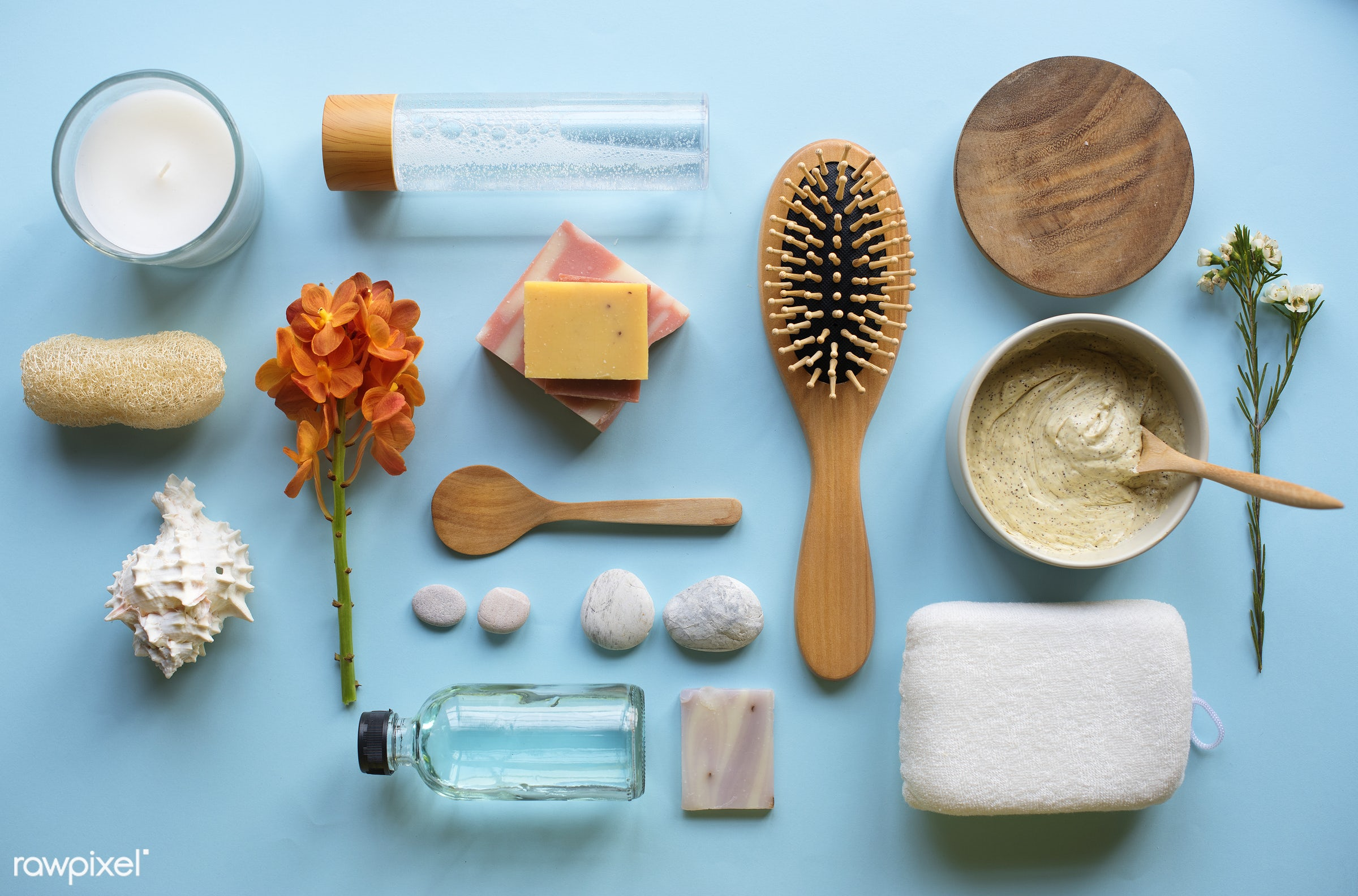 Flatlay of spa and beauty products - aroma, flatlay, moisturizer, beauty, skin, candle, woman, cosmetics, care, bath,...