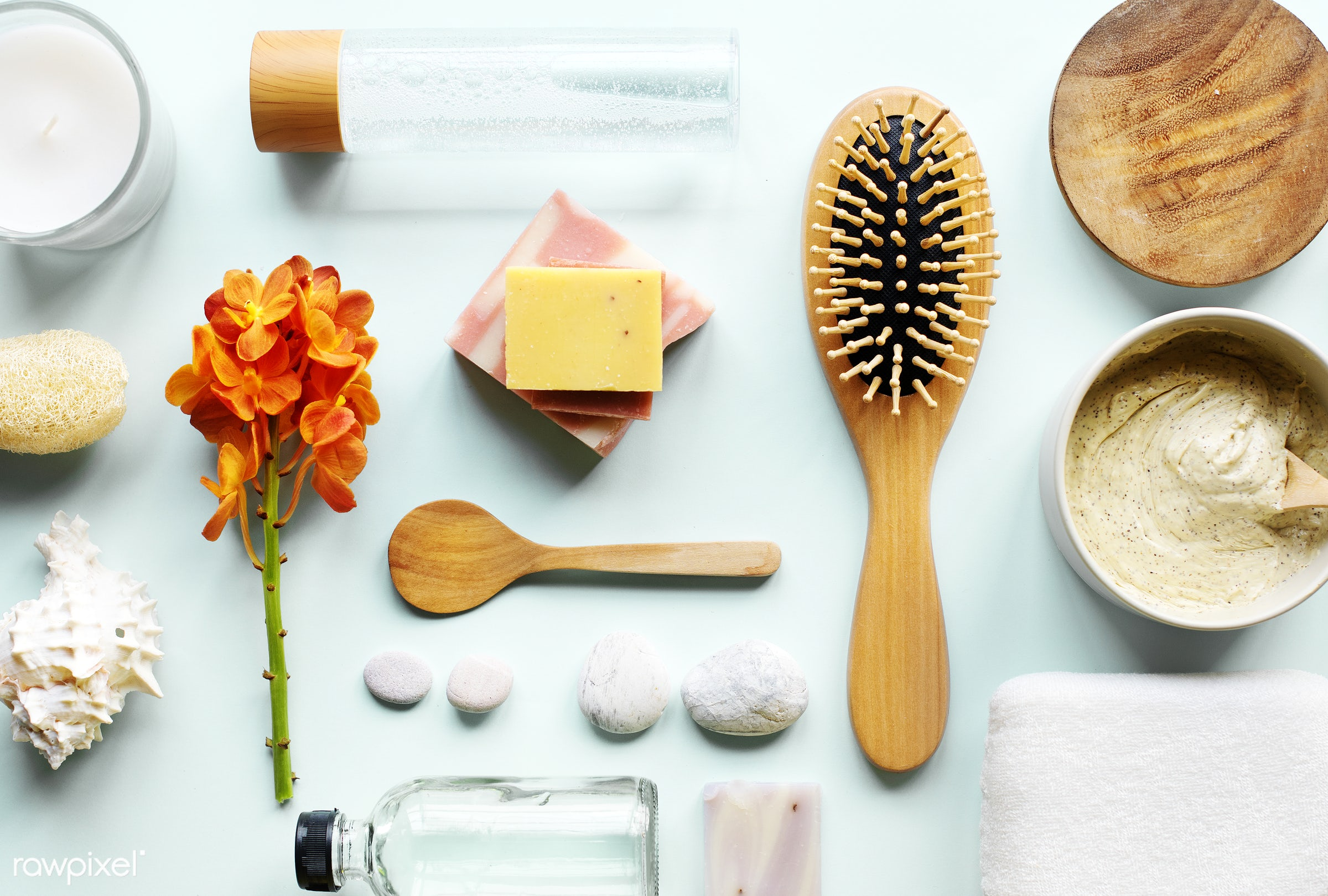 Flatlay of spa and beauty products - aroma, aromatherapy, bath, beauty, bodycare, brush, candle, care, comb, cosmetics,...