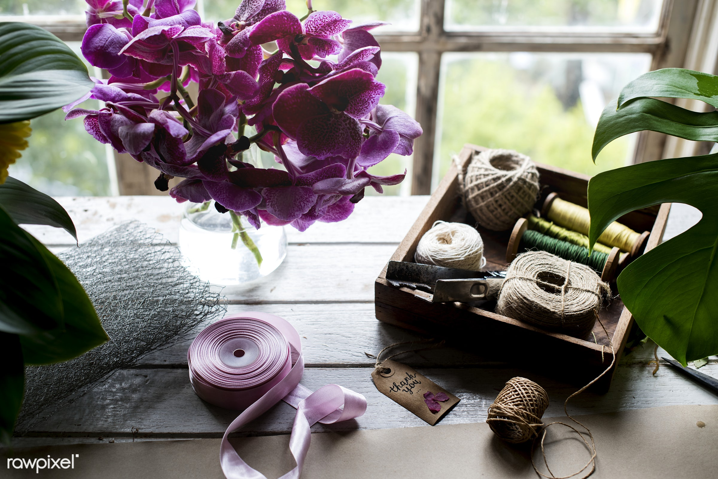 Workspace for diy projects - nobody, ornate, tag, leaves, diy, accessory, ribbon, thread, flower, purple, romantic, handmade...