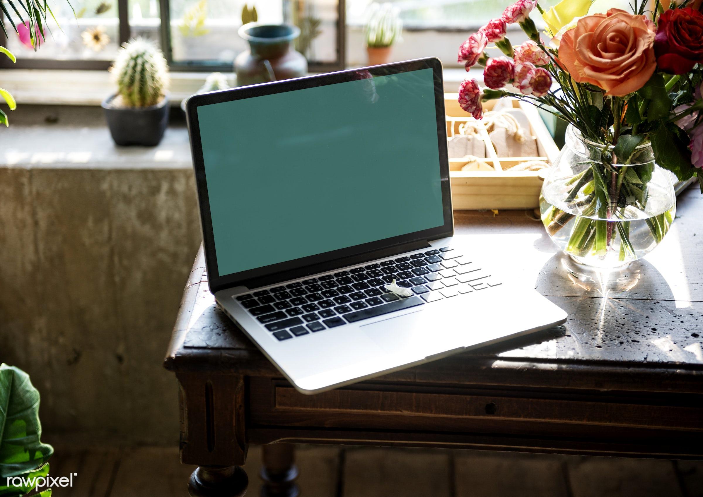 plant, copy space, technology, fresh, laptop, flower, blank, decoration, flora, refreshment, leisure, table, florist, rose,...
