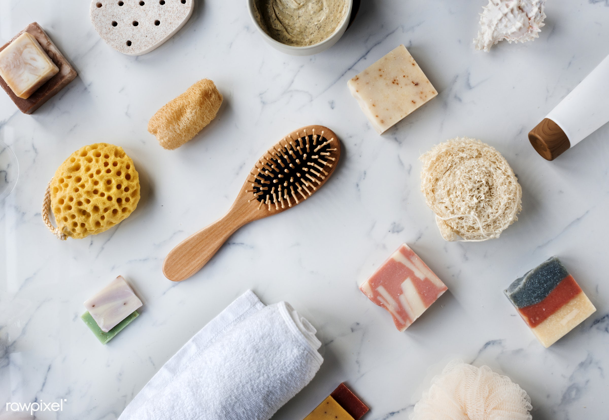Flatlay of spa and beauty products - body, aroma, treatment, homemade, clean, fresh, wellness, care, bath, wash, products,...