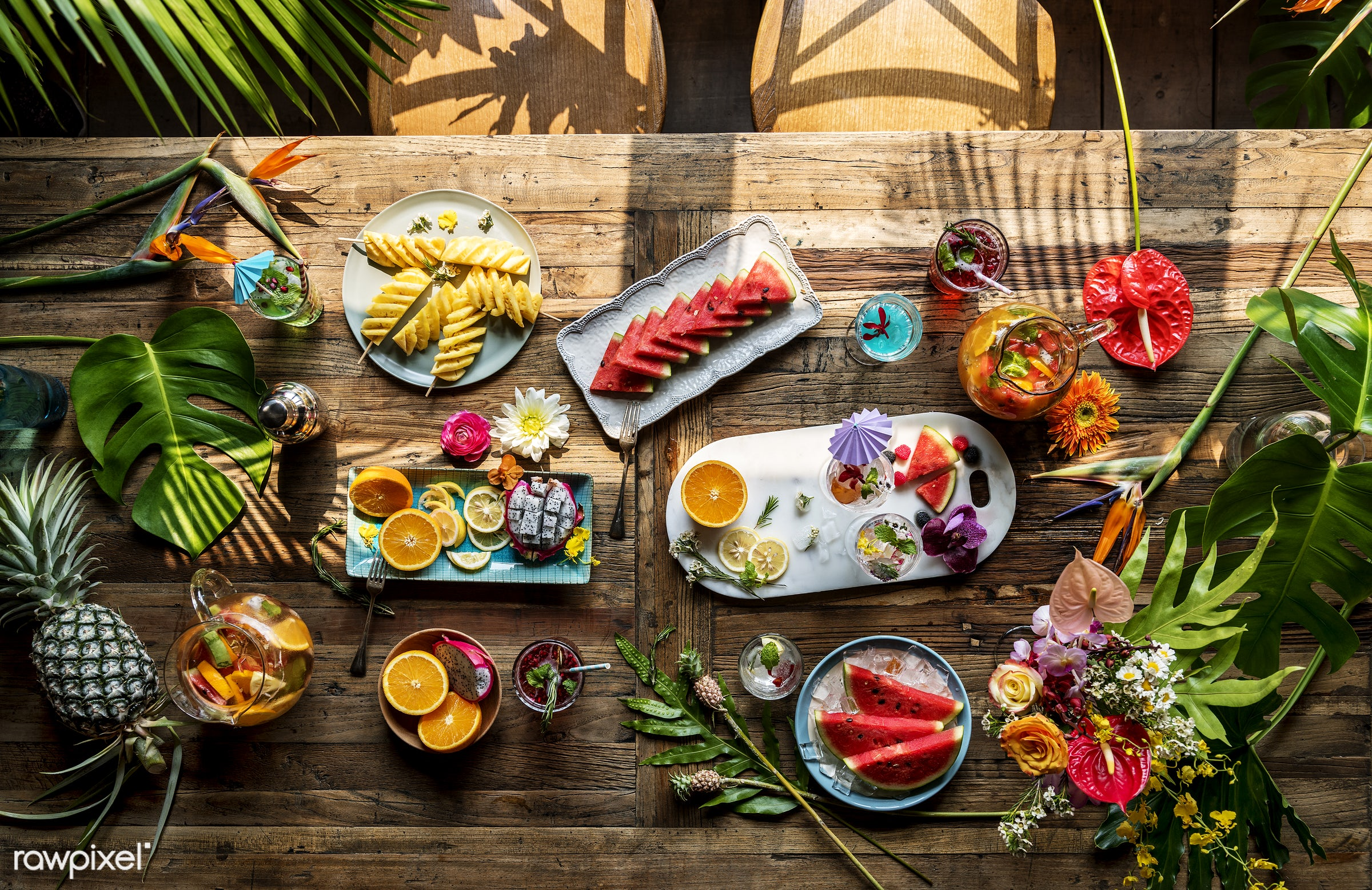 tropical, refreshment, fruits, table, drinks, wooden, fresh, food, juice, cocktail, natural, flower