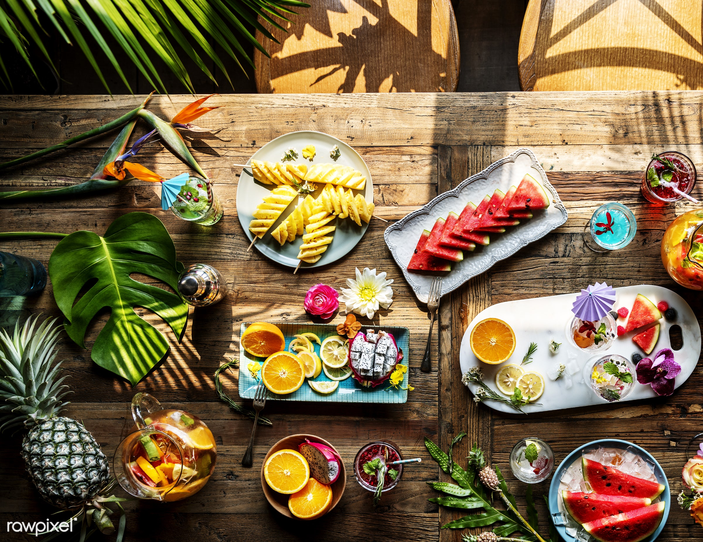 flatlay, tropical, party, drinks, juice, glass, cocktail, mixed, fruit, hanging out, refreshment, table, high angle view,...