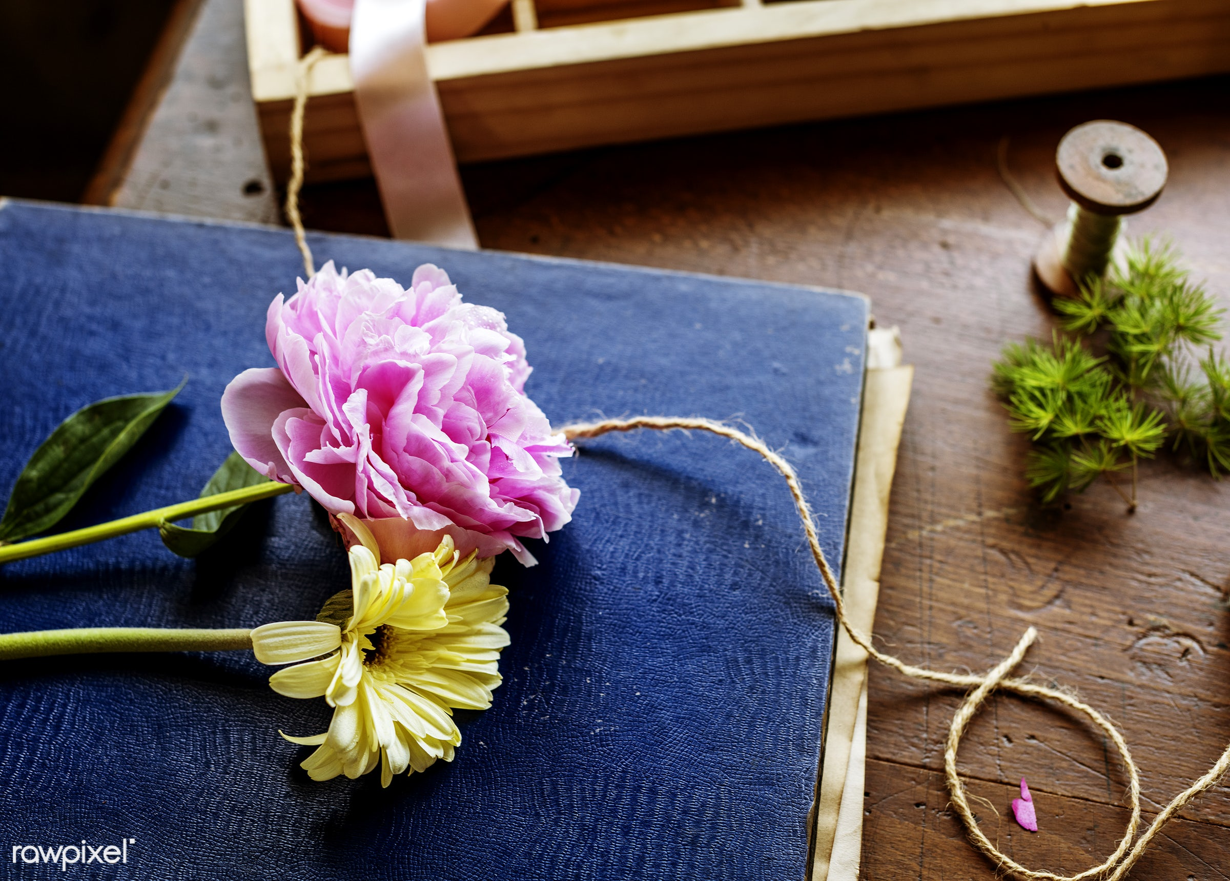 Decorative flowers and a vintage book - vintage, blooming, bloom, spring, romance, style, rope, book, summer, closeup,...