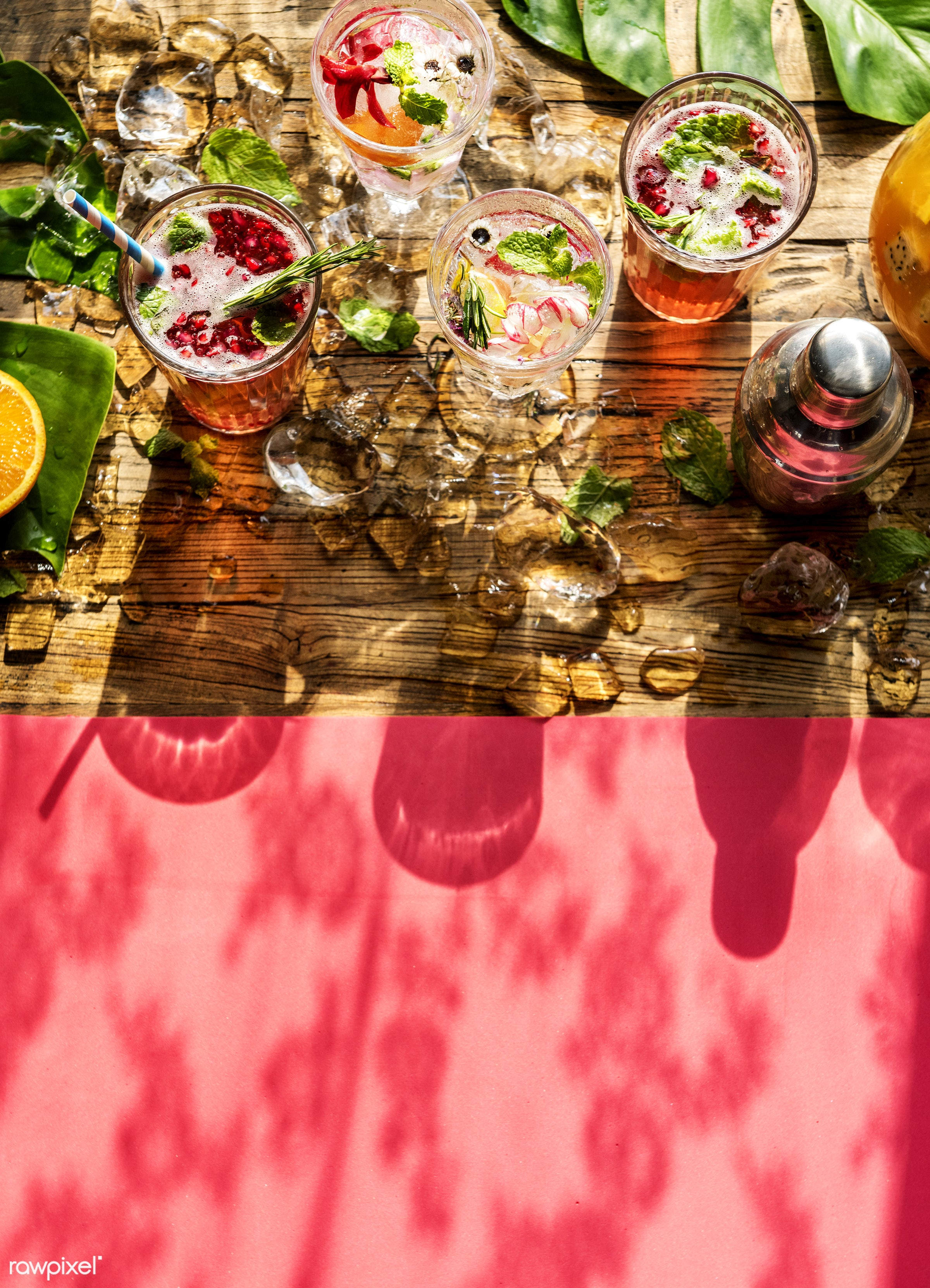 tropical, refreshment, fruits, table, drinks, shaker, wooden, fresh, ice, food, juice, cocktail, natural