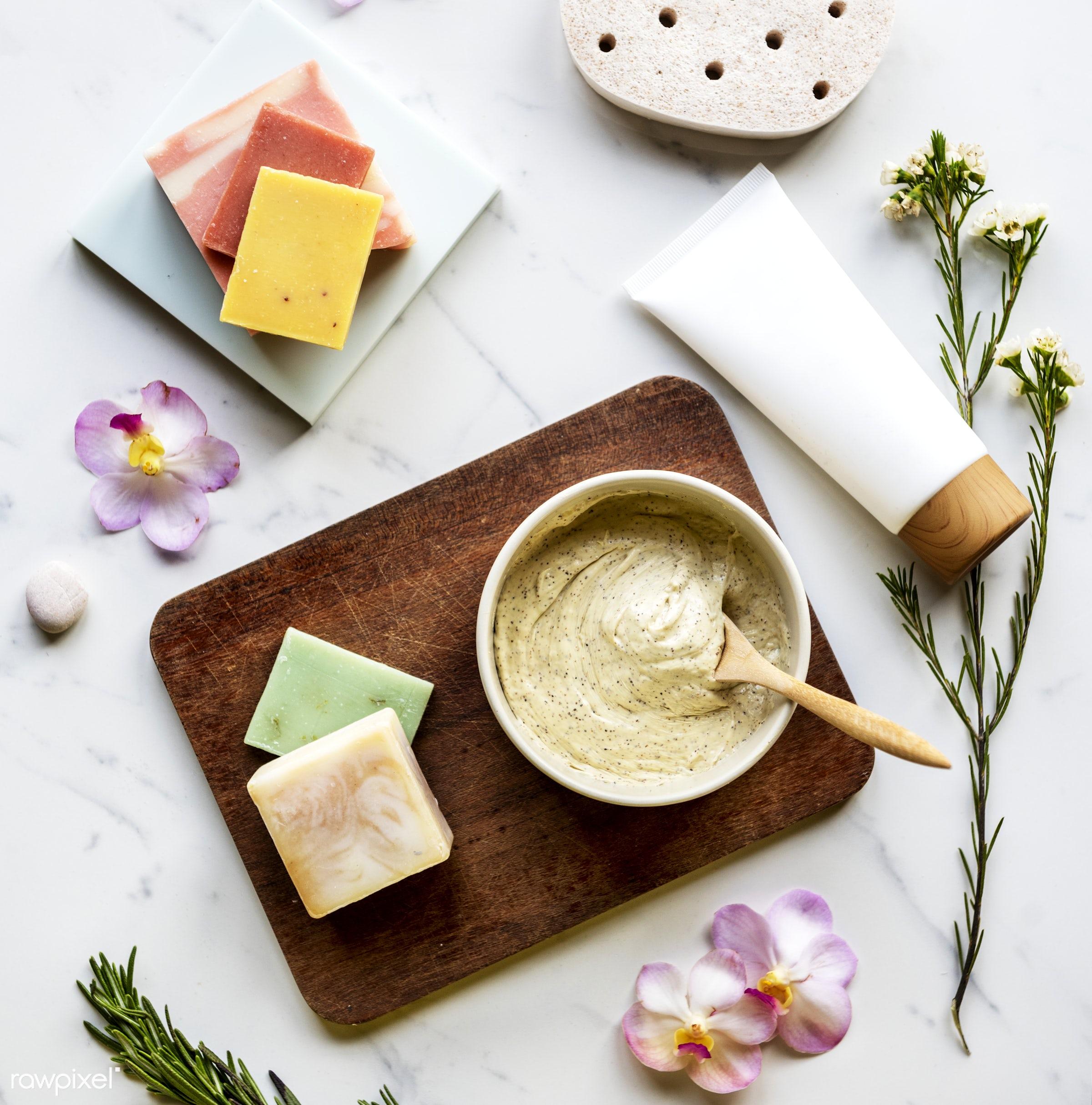 Flatlay of spa and beauty products - body, marble, aroma, flatlay, moisturizer, beauty, skin, woman, care, bath, cosmetics,...