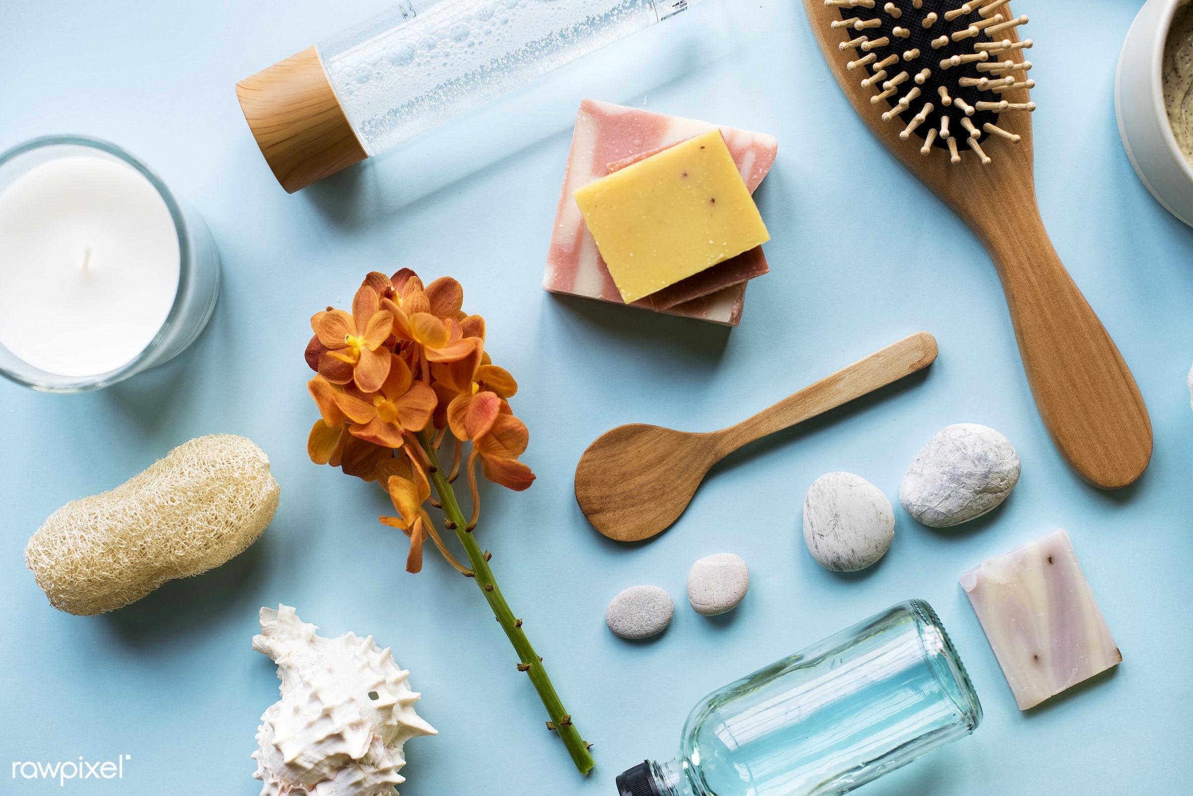 aroma, flatlay, moisturizer, beauty, skin, candle, woman, cosmetics, care, bath, bodycare, spa, aromatherapy, comb, cream,...