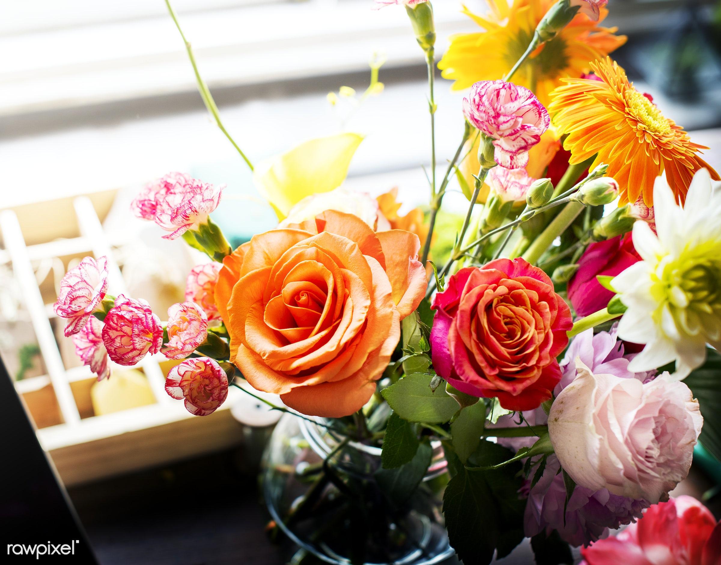 Romantic bouquet of flowers - plant, bouquet, shop, concept, decorative, botany, leaf, botanical, romance, blossom, decor,...