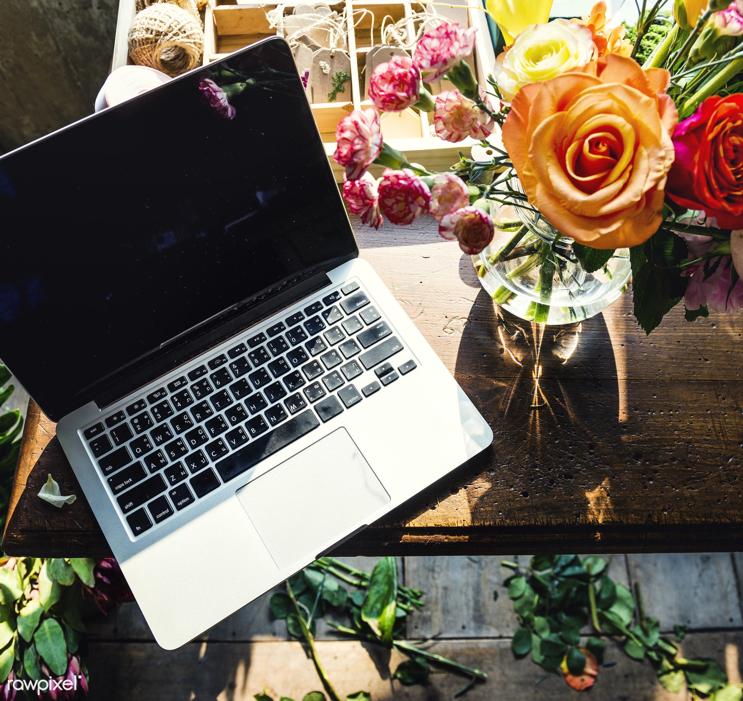 plant, shop, bouquet, concept, decorative, botany, leaf, botanical, romance, blossom, decor, fresh, foliage, laptop, bunch,...