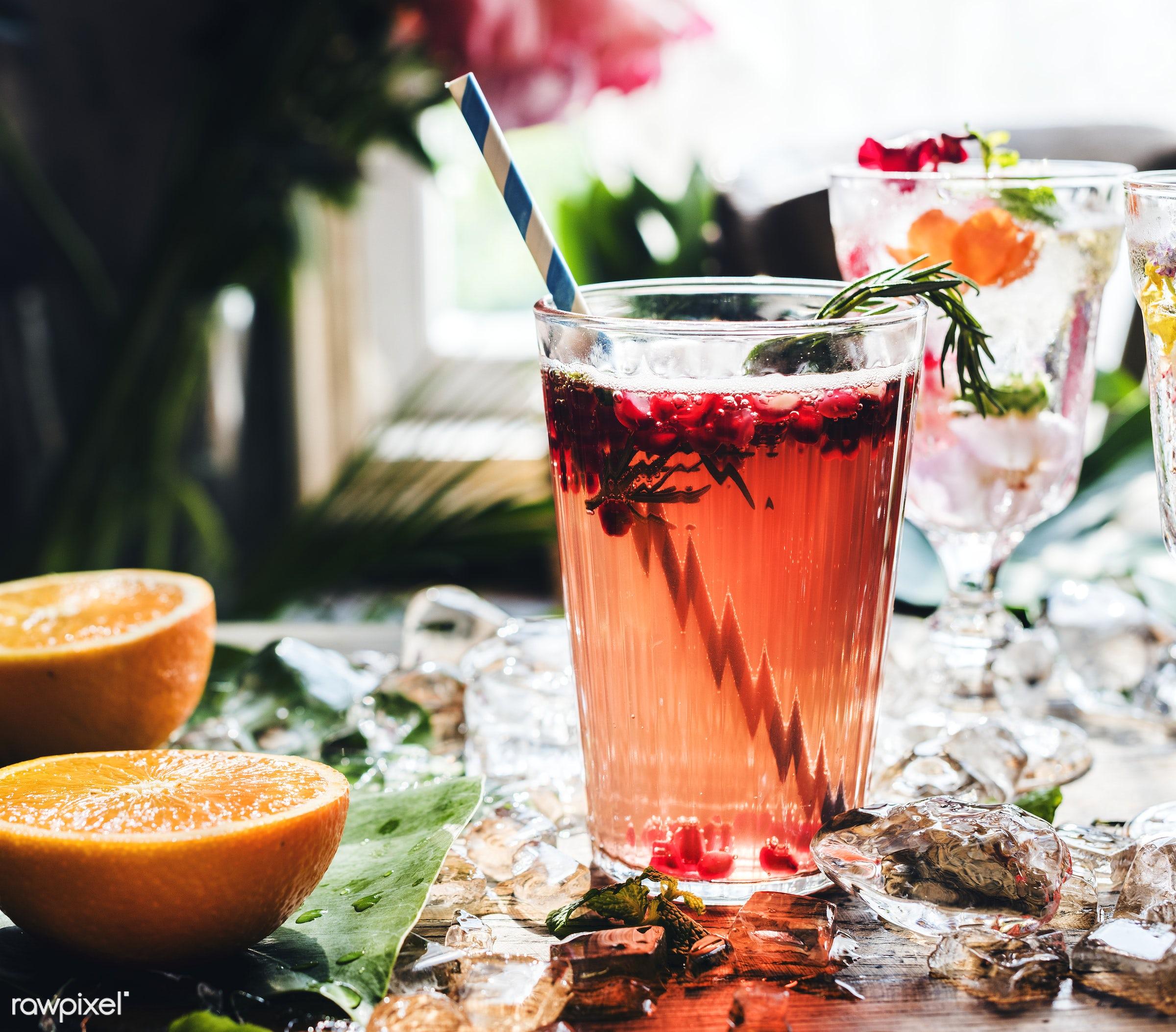 Summer cocktails with decorative flower petals - drink, cocktail, alcohol, beverage, citrus, flower petals, flowers, fresh,...