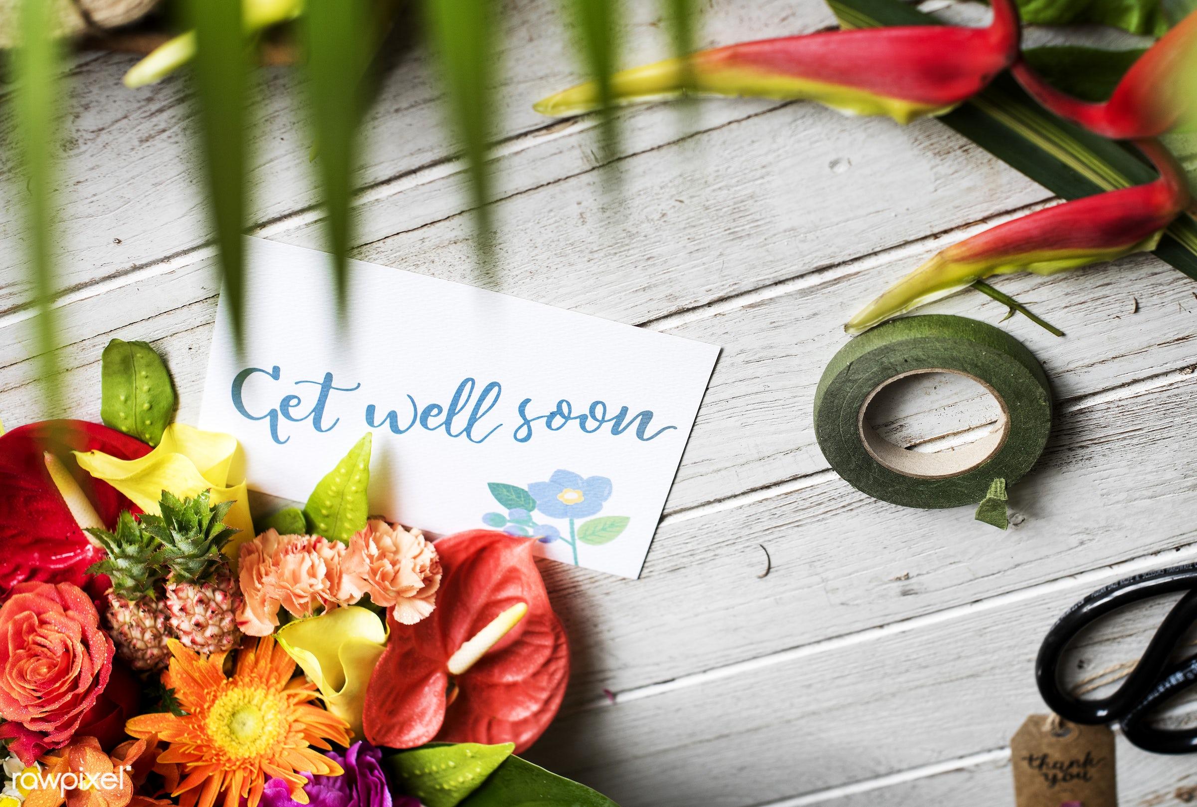 plant, bouquet, decoration, flora, refreshment, leisure, table, florist, wooden, recreational, fresh, card, get well soon,...
