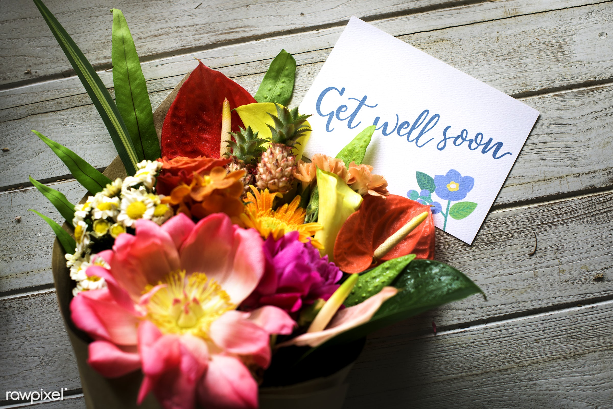 bouquet, gift, decorative, lettering, wish, well, blossom, fresh, illness, sympathy, get well, card, note, flower, greeting...