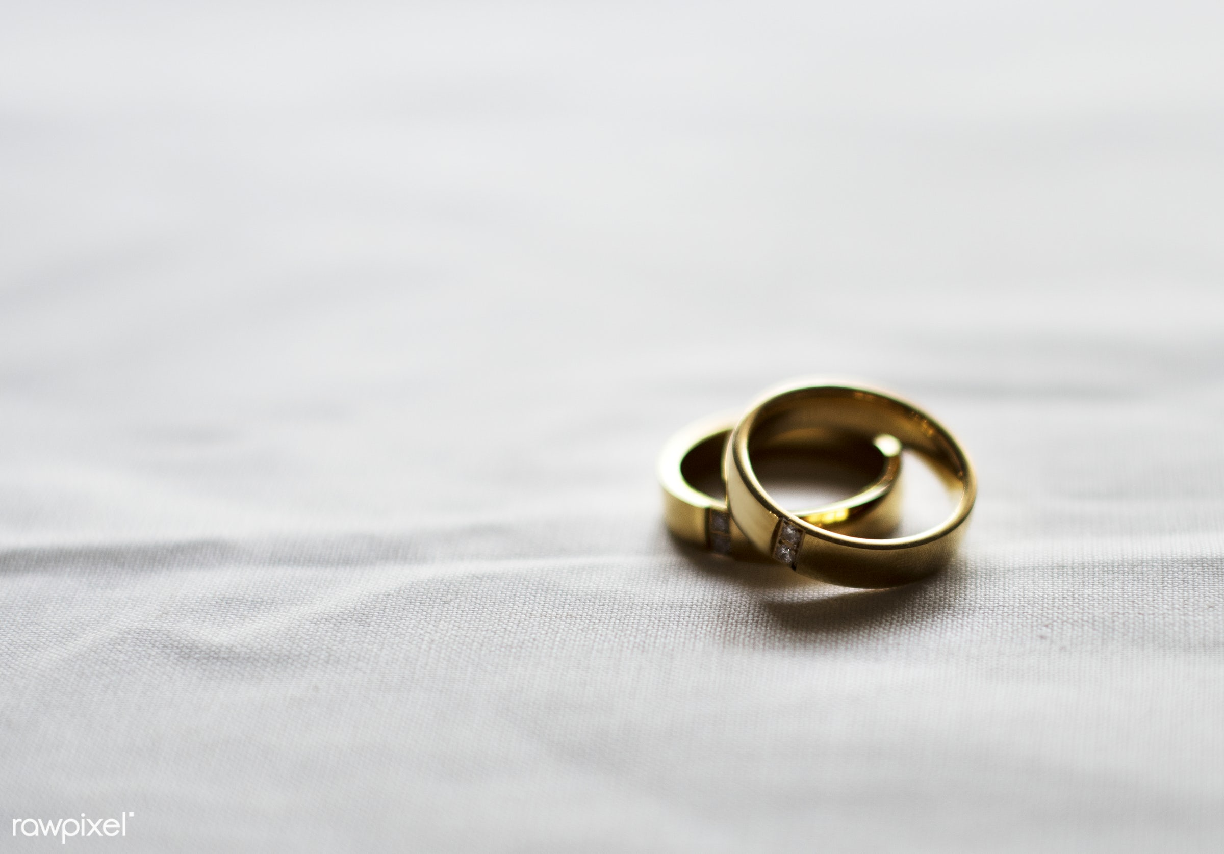 nobody, pair, together, jewel, rings, gold, closeup, white cloth, fiance, white background, prepare, ceremony, marriage, two...