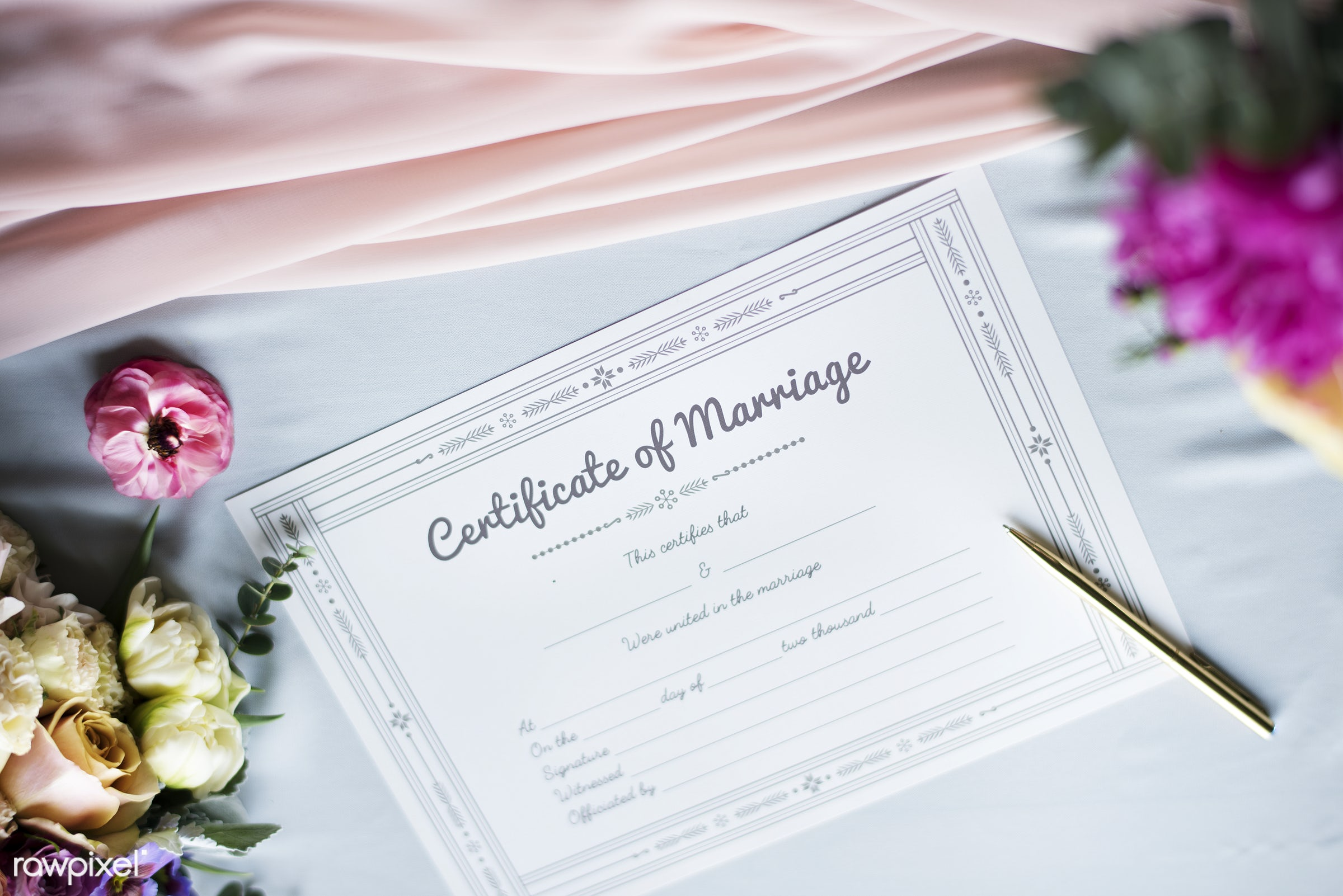 wedding, certificate, aerial view, arrangement, blue table, carnation, closeup, flat lay, flowers, information, license,...