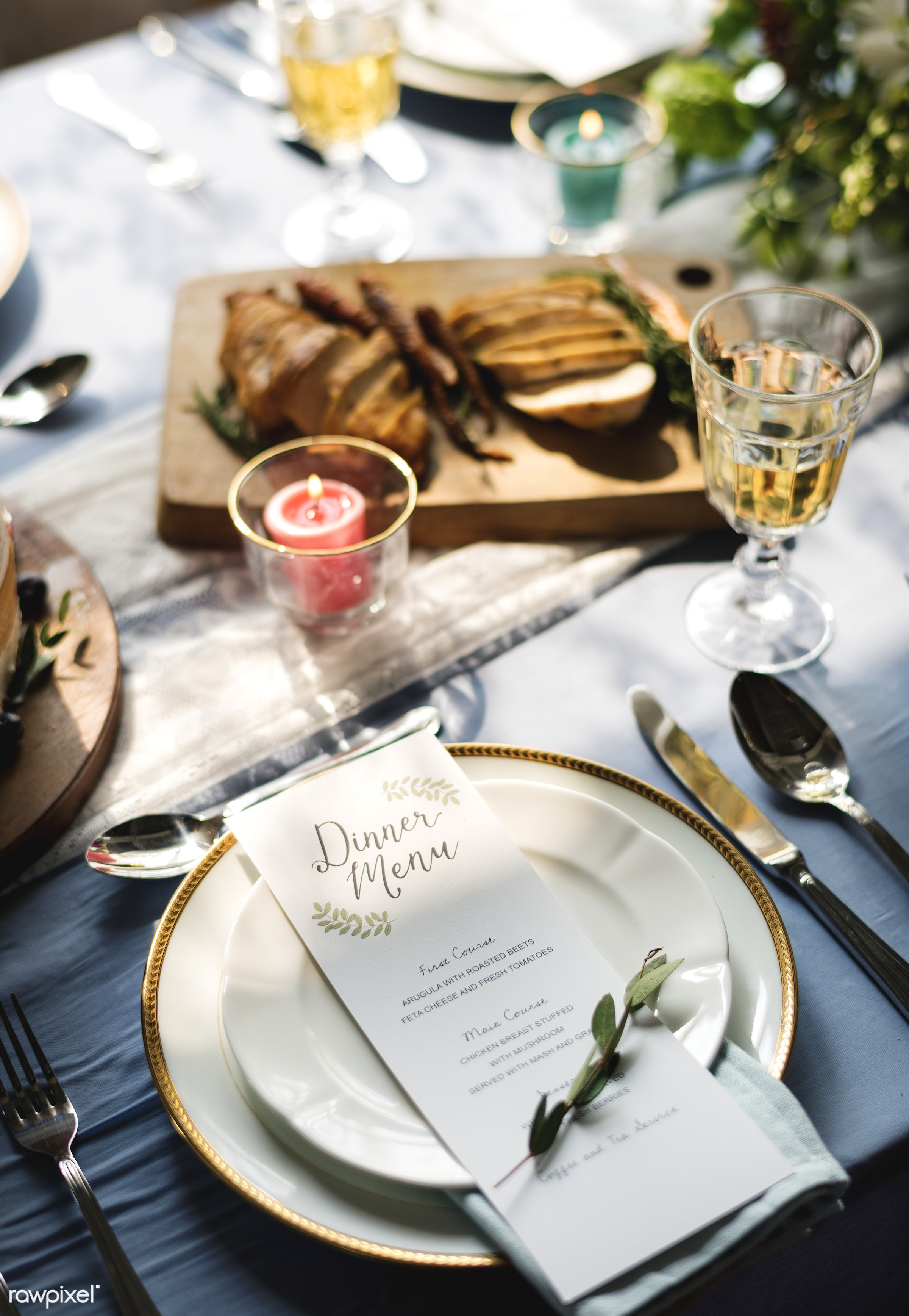 Dinner menu on a clean plate with leaves - alcohol, champagne, closeup, cutlery, decoration, design, dining, dinner, drink,...