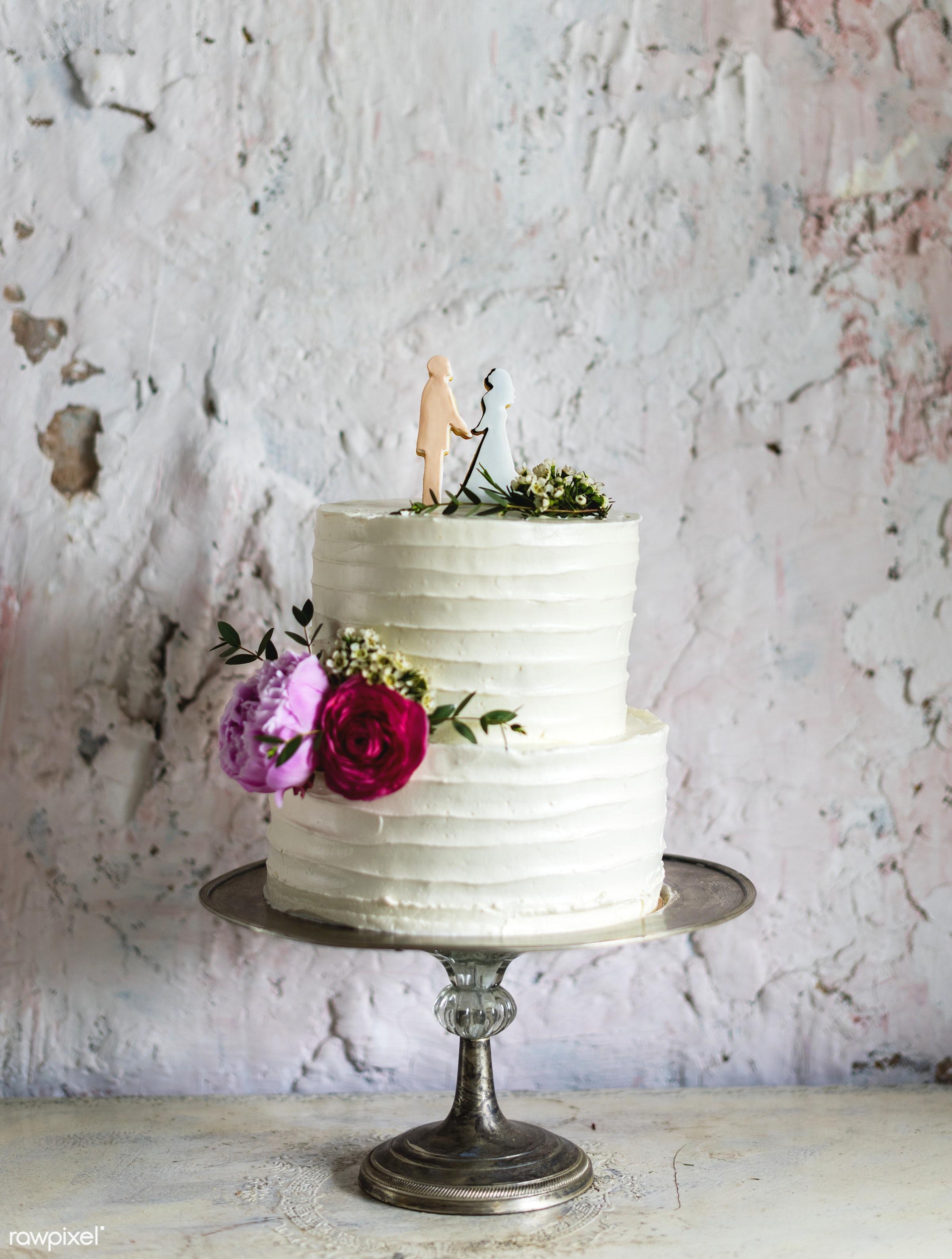 nobody, waxflowers, couple topper, figure, bakery, event, banquet, bride, flowers, dessert, cake, decoration, white,...