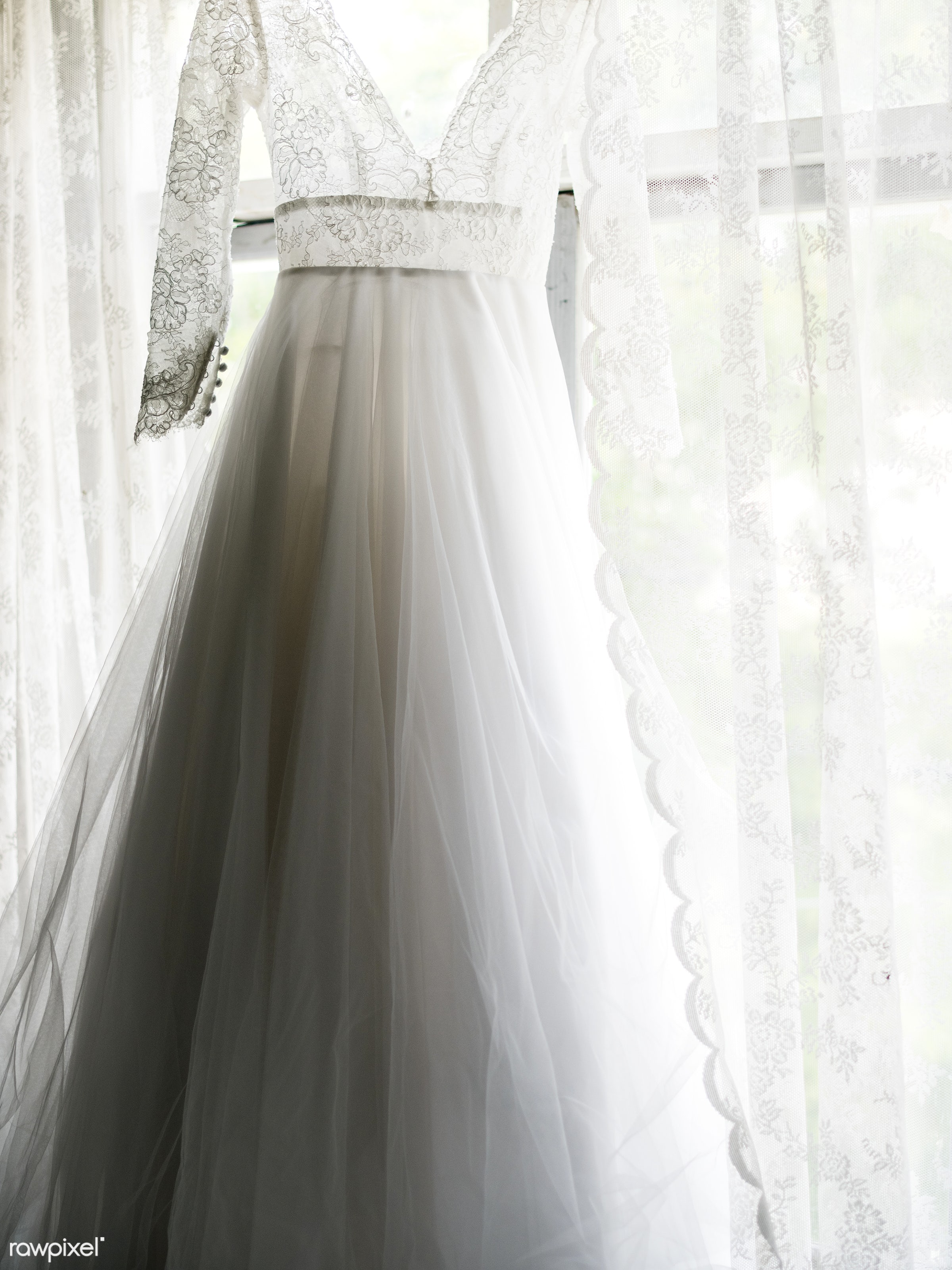nobody, outfit, occasion, white dress, glamour, hanging, cloth, feminine, gown, bride, marry, lace, preparation, elegance,...