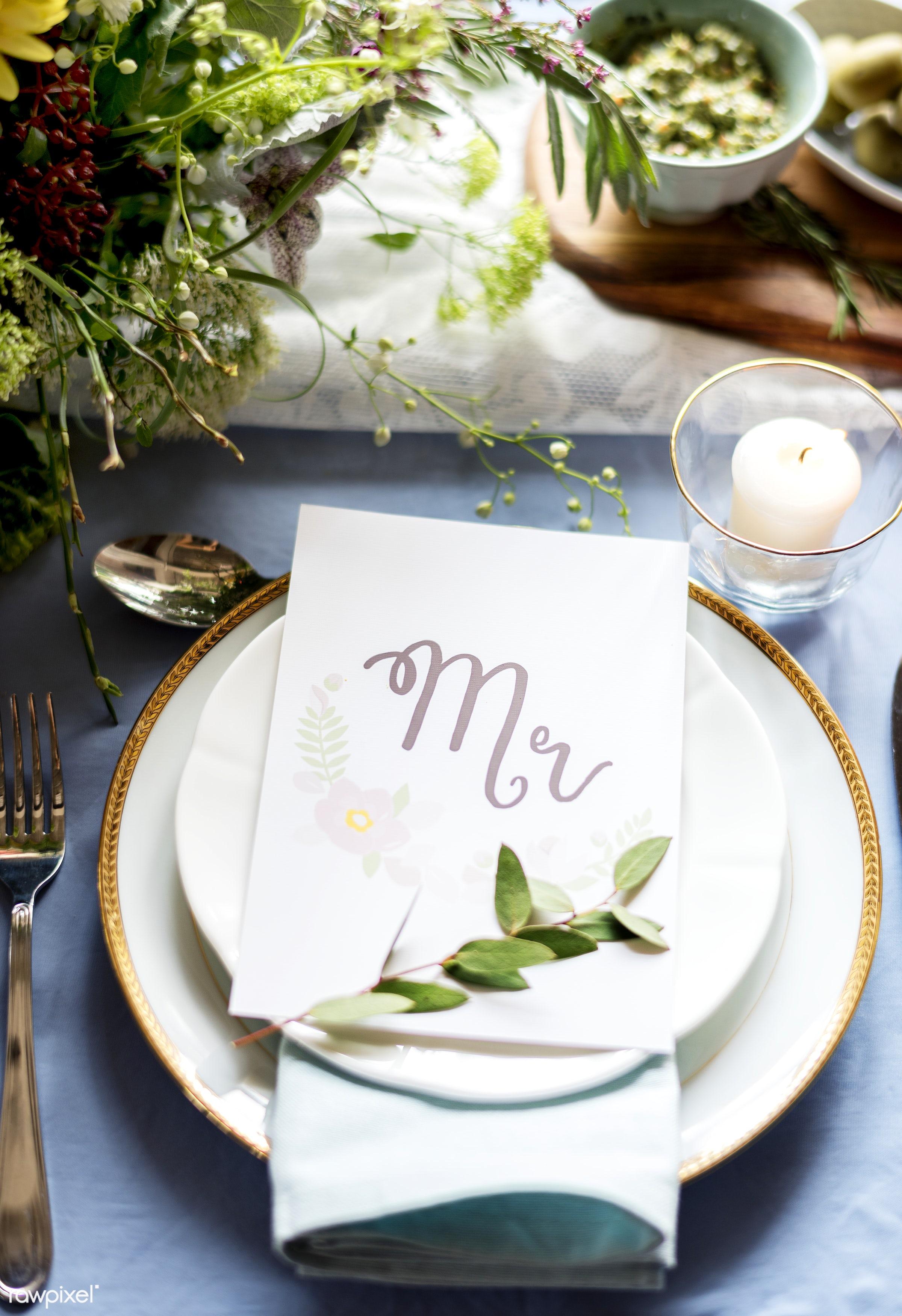 wedding, card, meeting, party, ceremony, restaurant, aerial view, arrangement, banquet, cutlery, decoration, detail, dinner...