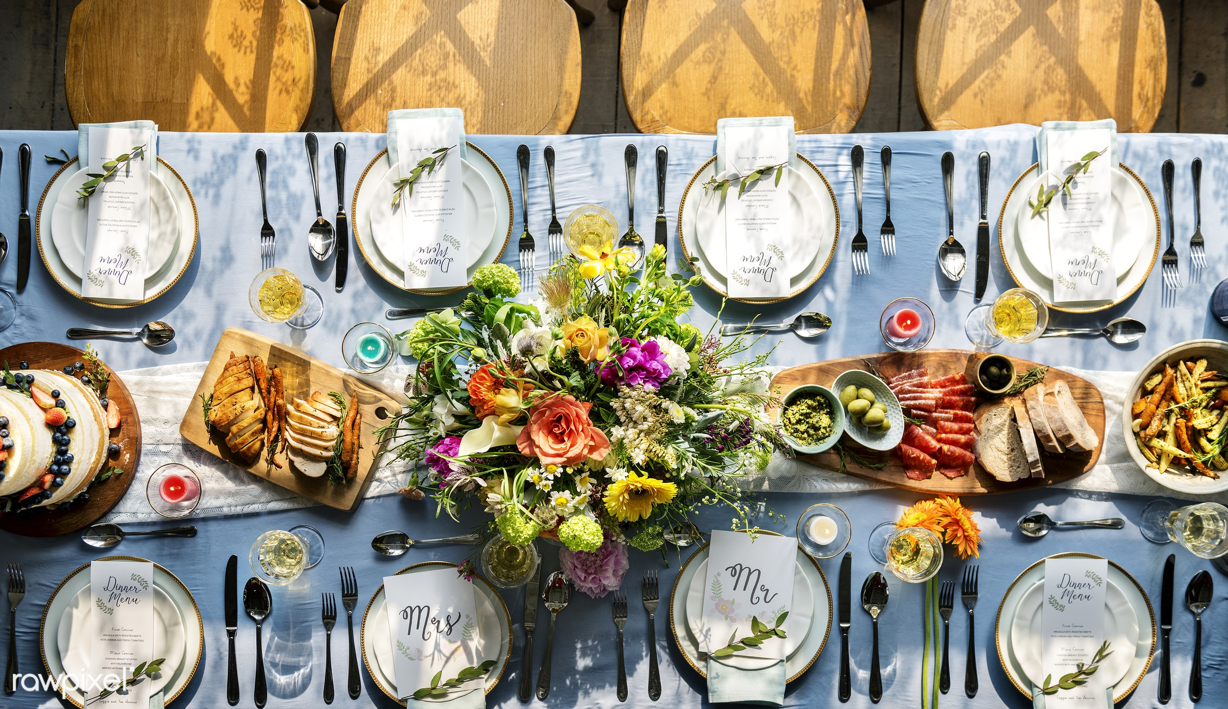 Wedding reception  - bouquet, top view, cutlery, party, banquet, aerial view, cake, decoration, menu, dinner, reception,...