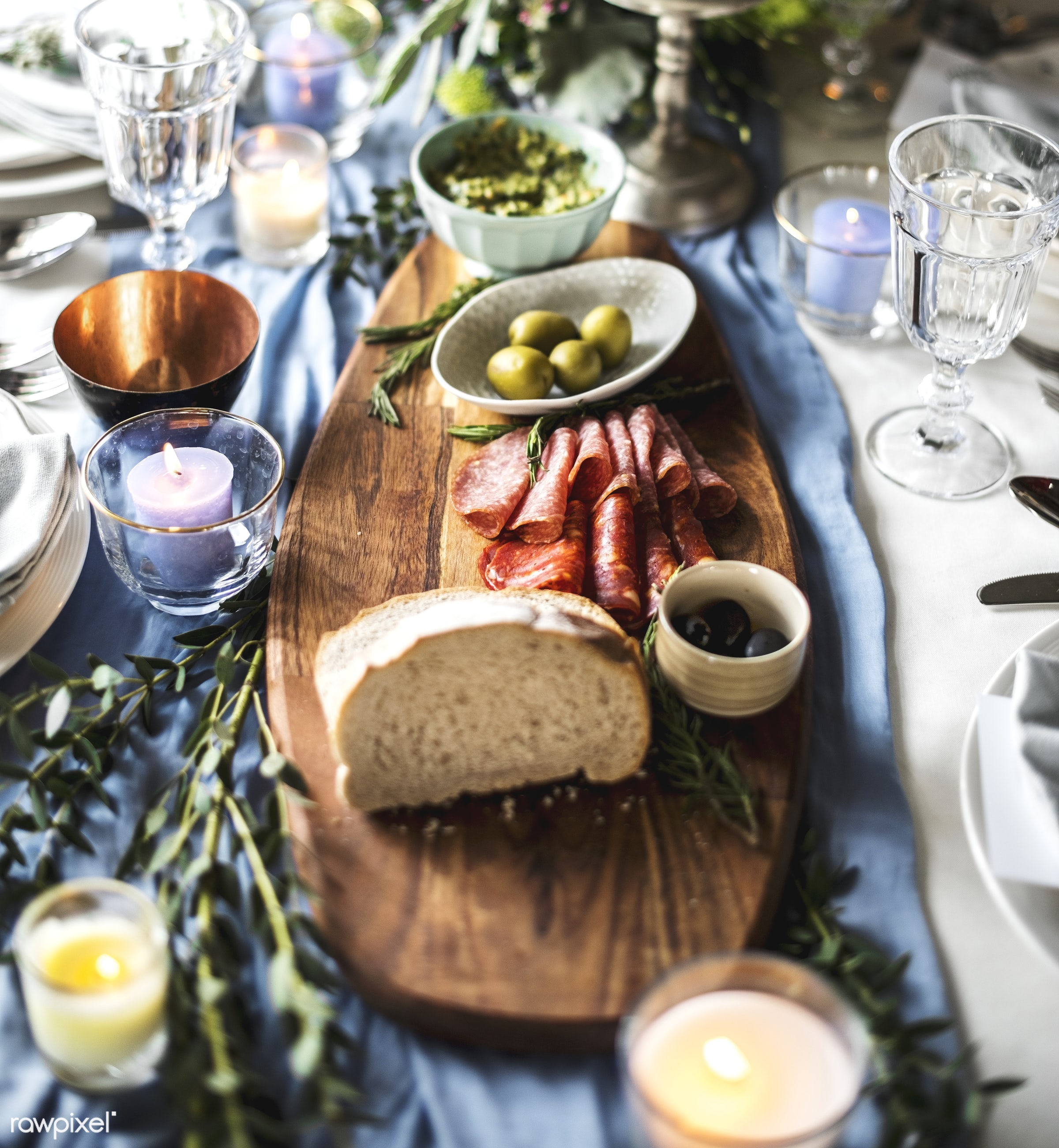 ham, nobody, blue cloth, detail, cutlery, appetizer, party, restaurant, bread, banquet, olives, meal, decoration, table...