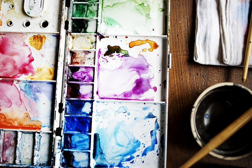 Closeup of water color pallette