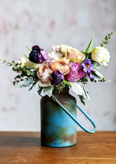Rustic vase with a beautiful bouquet