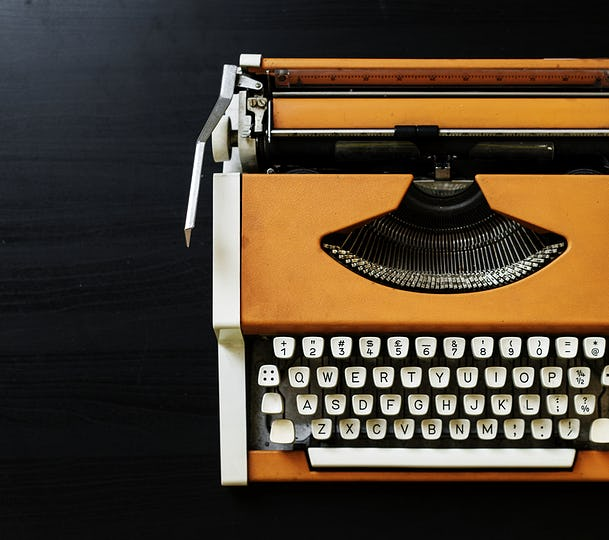 Retro orange typewriter