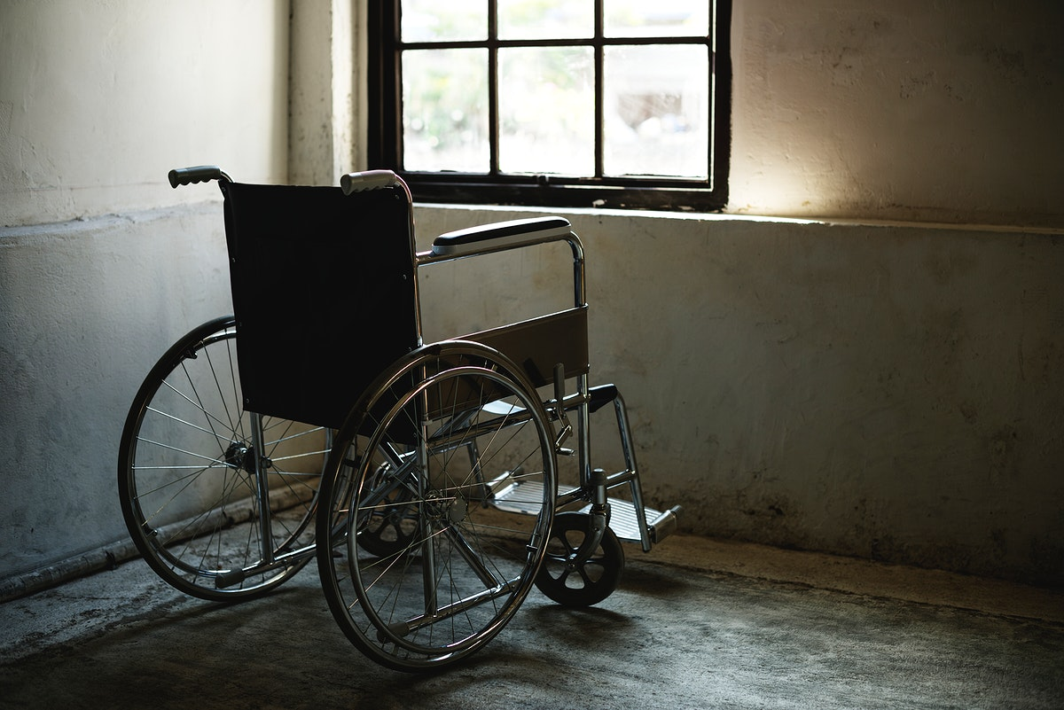 Wheelchair in an empty room