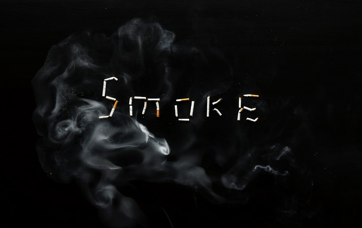 Cigarettes forming the word smoke