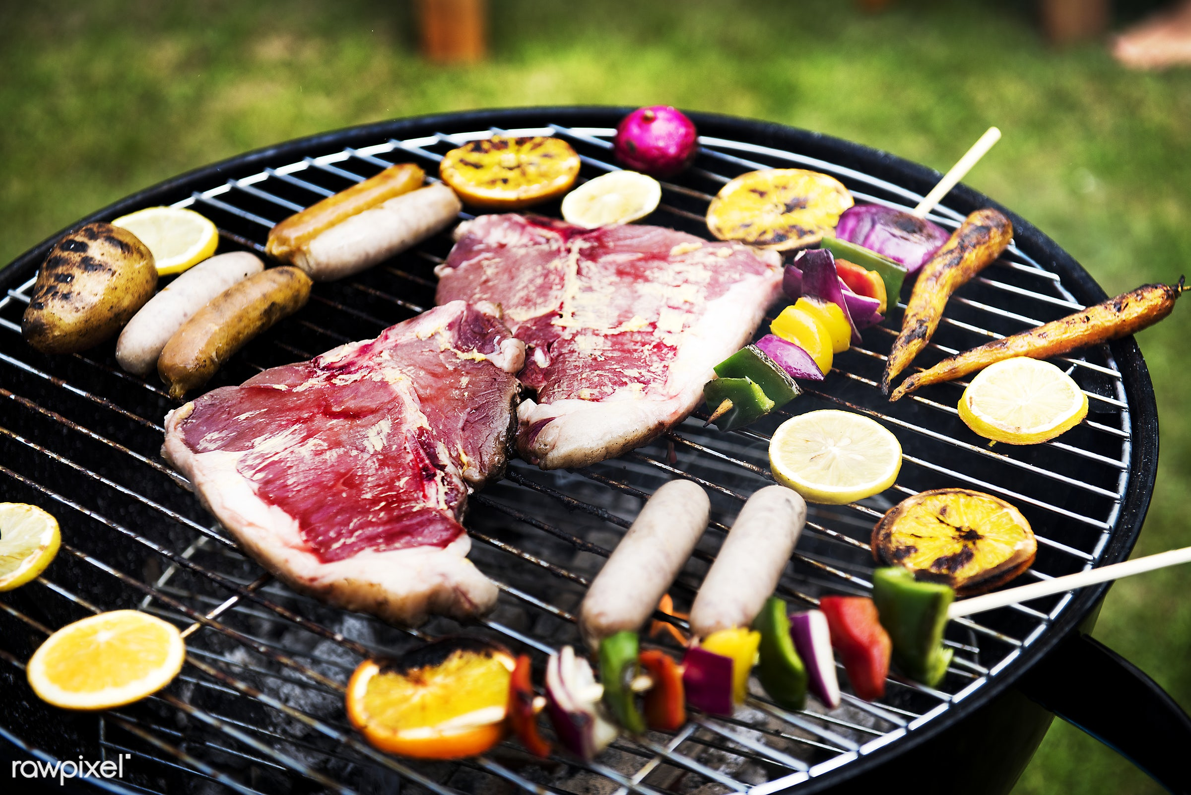 bbq, sausage, barbecue, closeup, cooking, diverse, food, fresh, grass, grill, group, holiday, homemade, leisure, meal, meats...