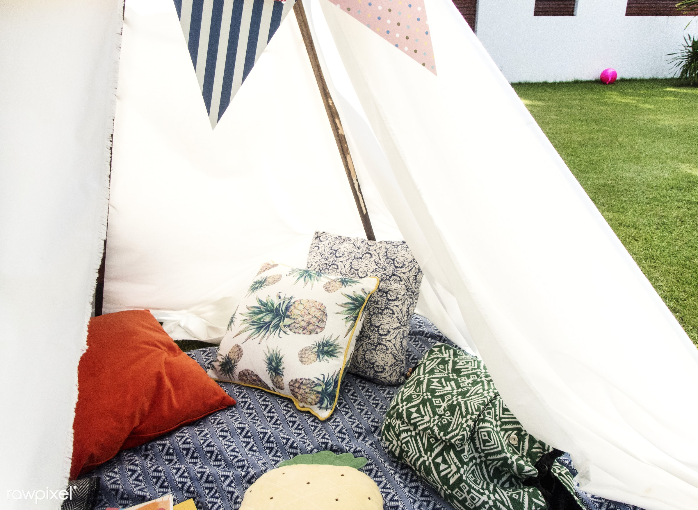 backyard, tent, activity, childhood, closeup, cushions, grass, imagination, leisure, nature, nobody, objects, outdoors, park...
