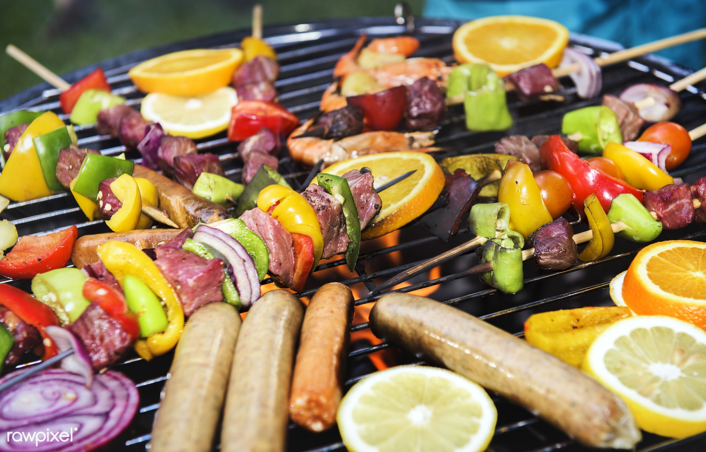 bbq, barbecue, charcoals, closeup, cook, cooking, cookout, fire, food, grill, homemade, meal, meat, nobody, sausage, screen...