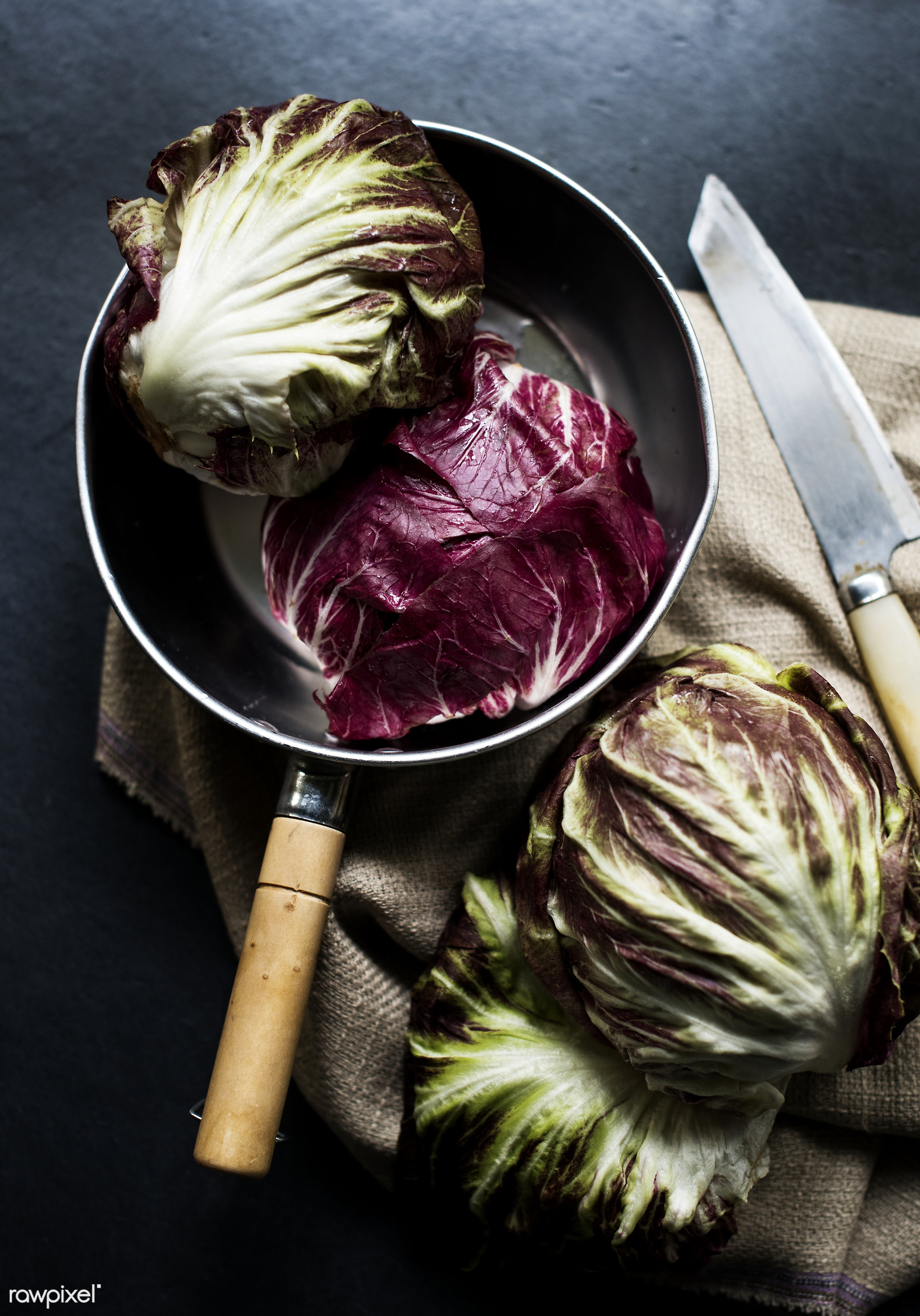 Red cabbage in a pot - raw, nobody, pot, ingredients, farm, nature, fresh, red cabbages, aerial view, products, closeup,...