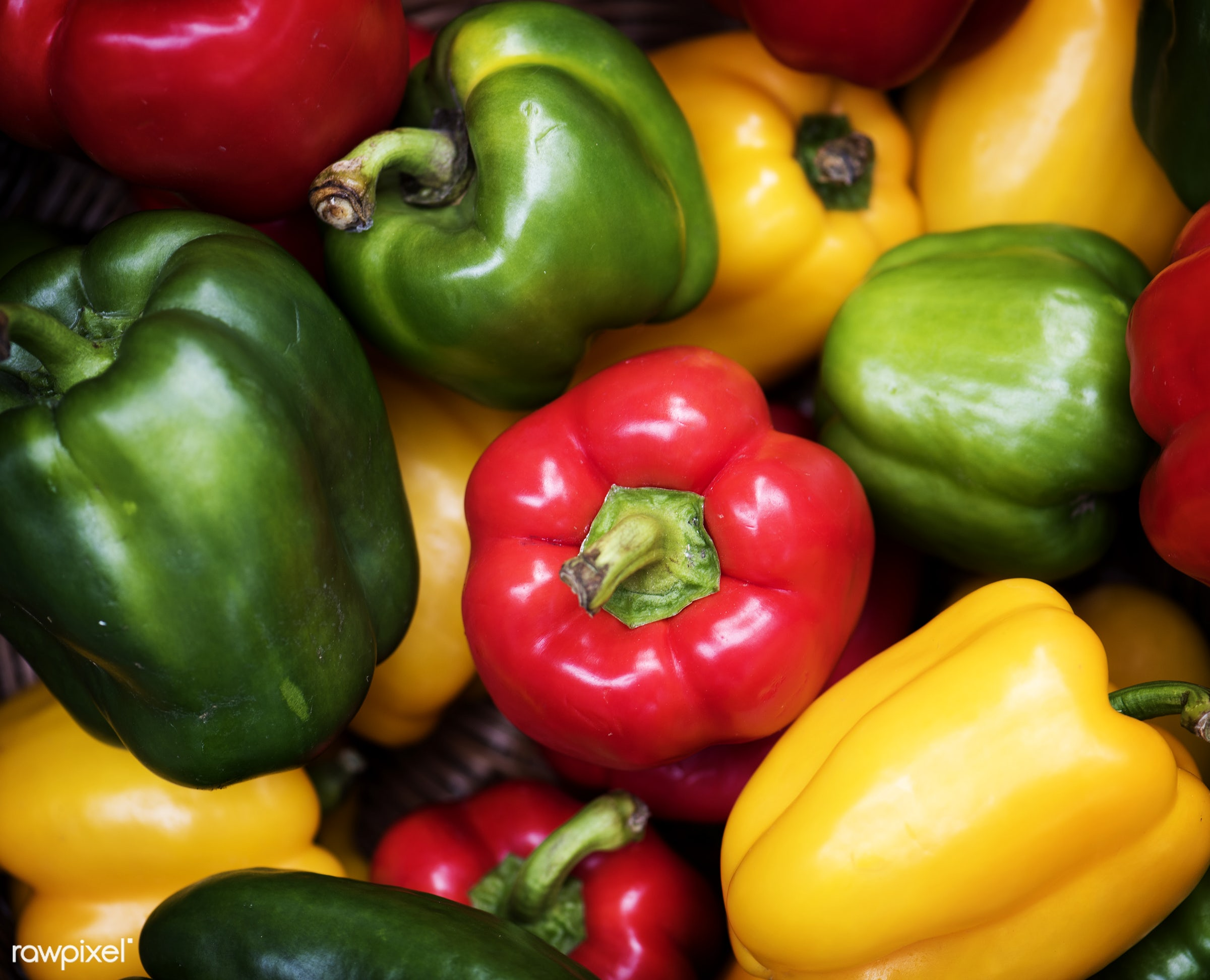 Red, green and yellow bell peppers - raw, nobody, sweet peppers, set, yellow, farm, ingredients, nature, fresh, bell peppers...