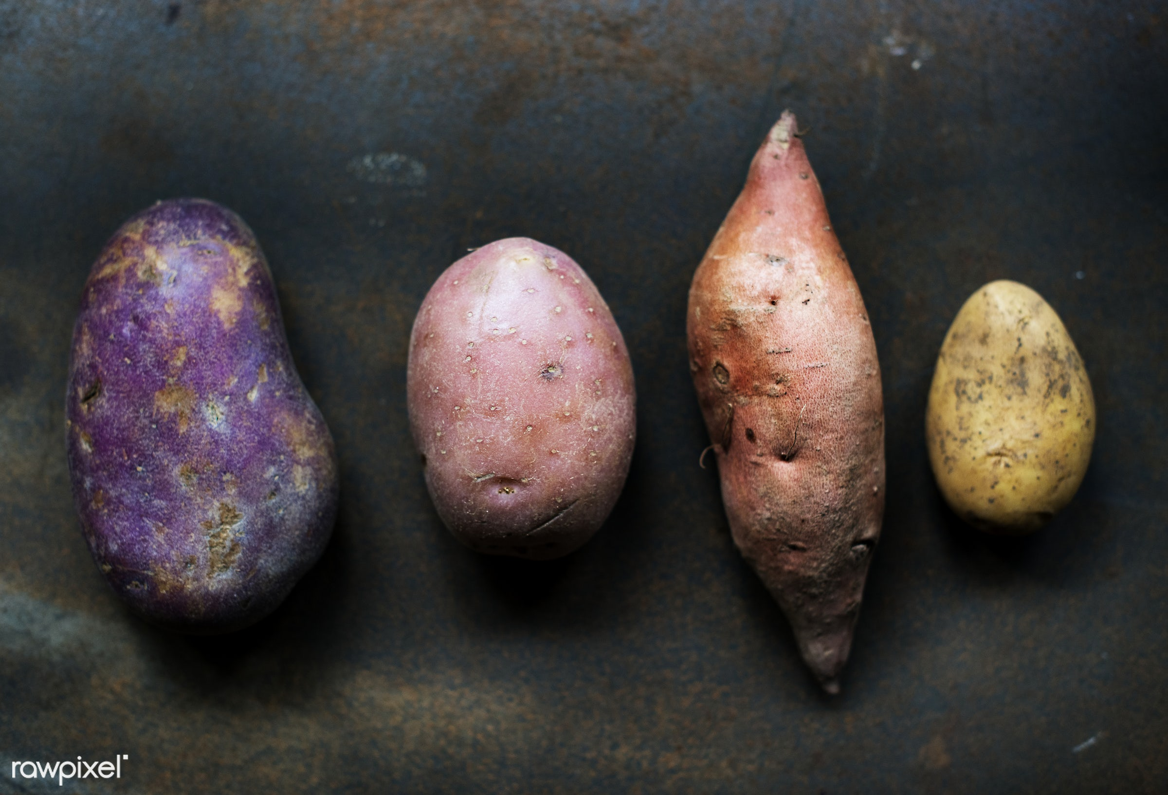 Different varieties of organic potatoes - raw, nobody, ingredients, black background, farm, nature, fresh, various, products...