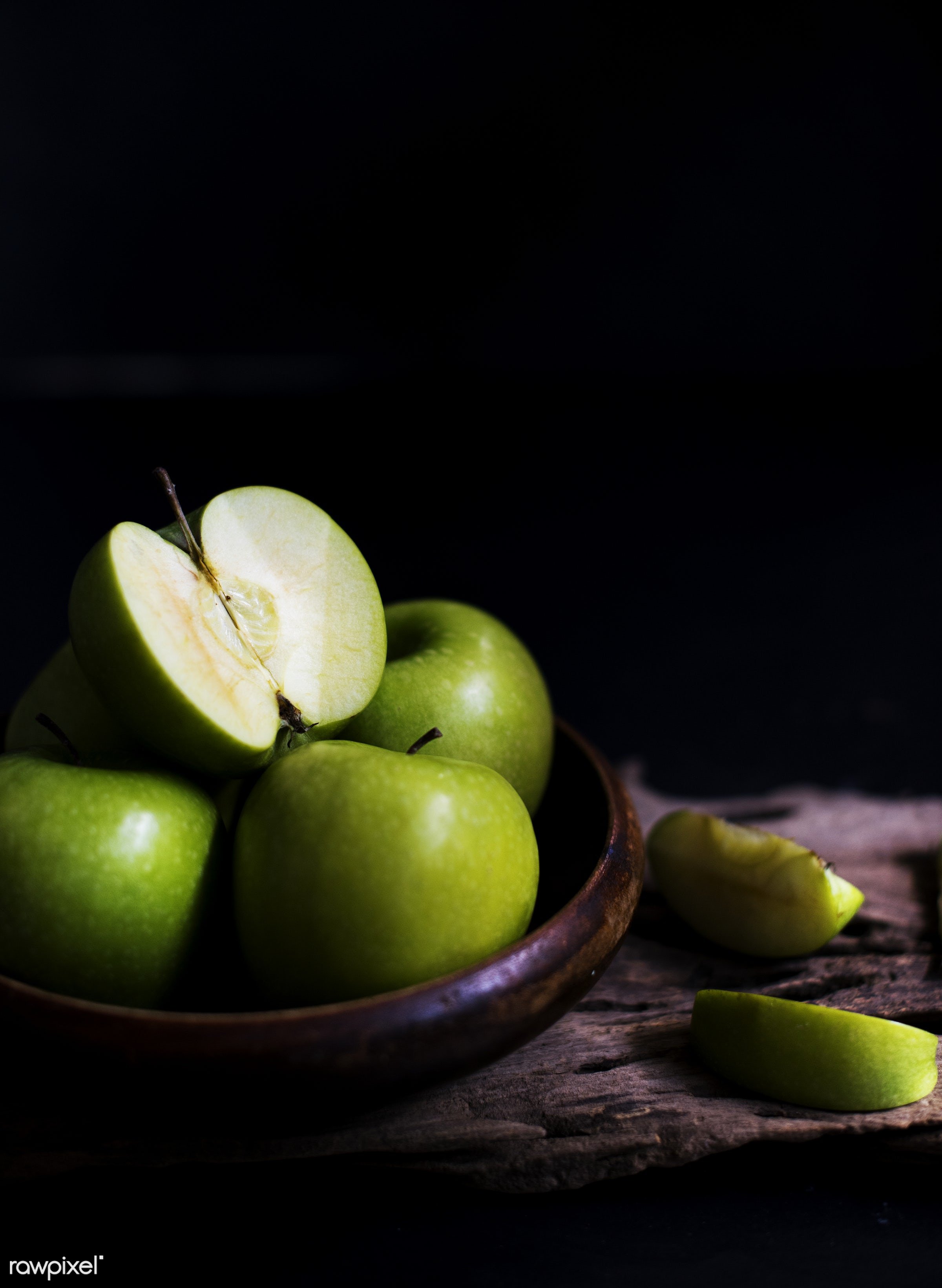 raw, nobody, black background, nature, fresh, apples, products, closeup, fruit, green, agriculture, wooden bowl, organic,...