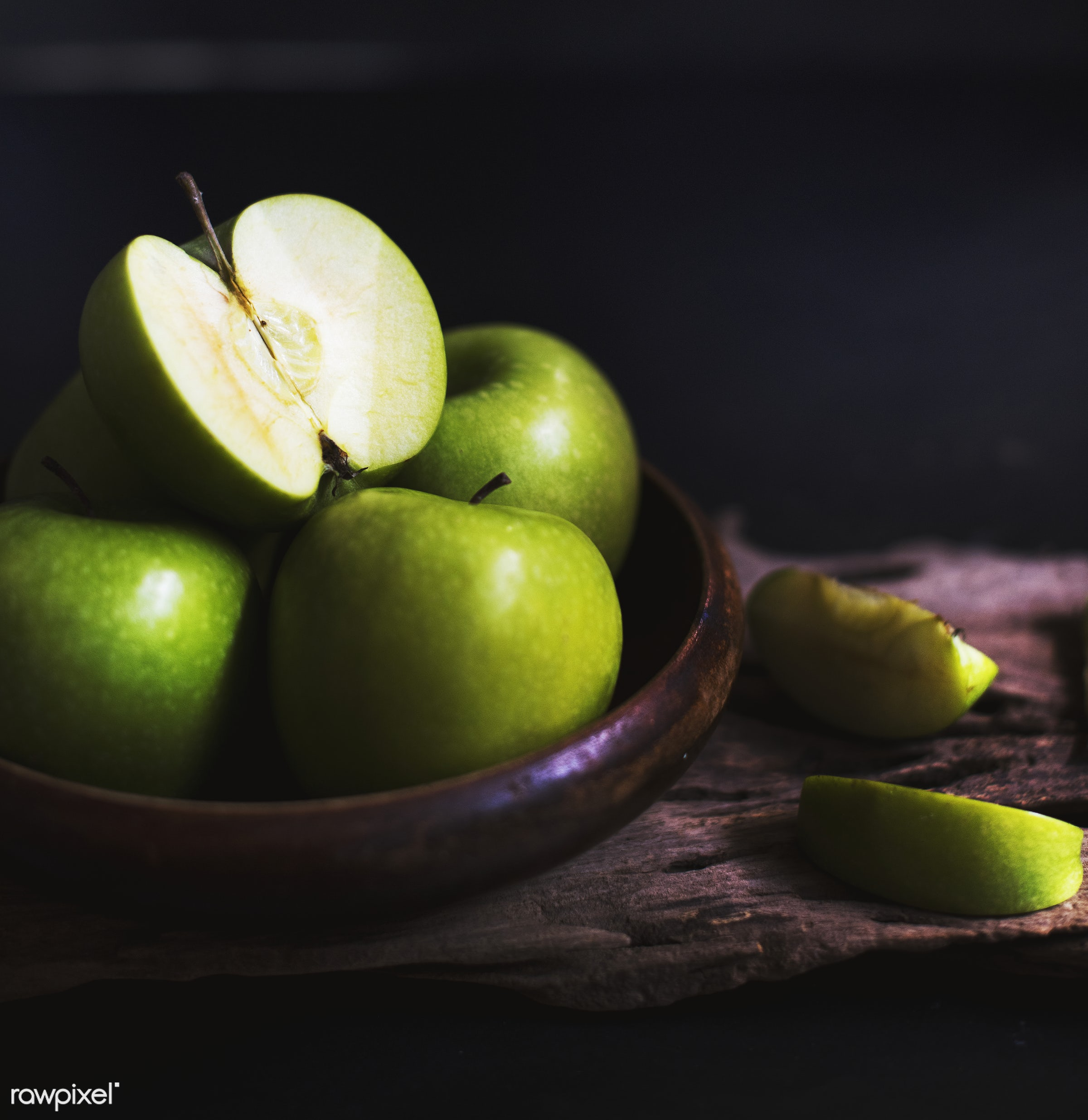 Green apple in a plate - raw, nobody, black background, nature, fresh, apples, products, closeup, fruit, green, agriculture...
