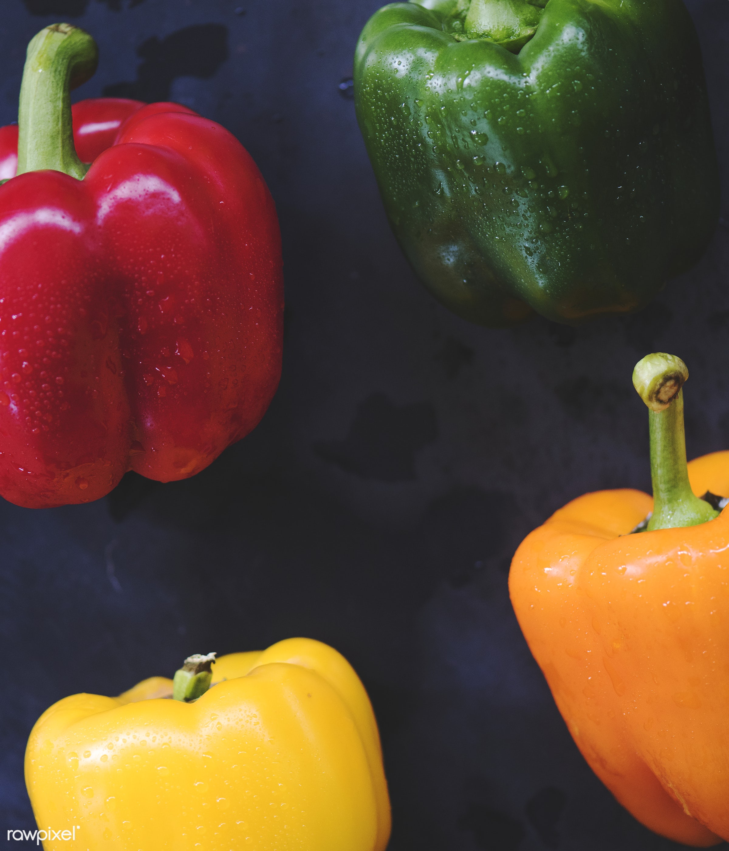raw, nobody, sweet peppers, set, yellow, ingredients, farm, black background, nature, fresh, bell peppers, aerial view,...