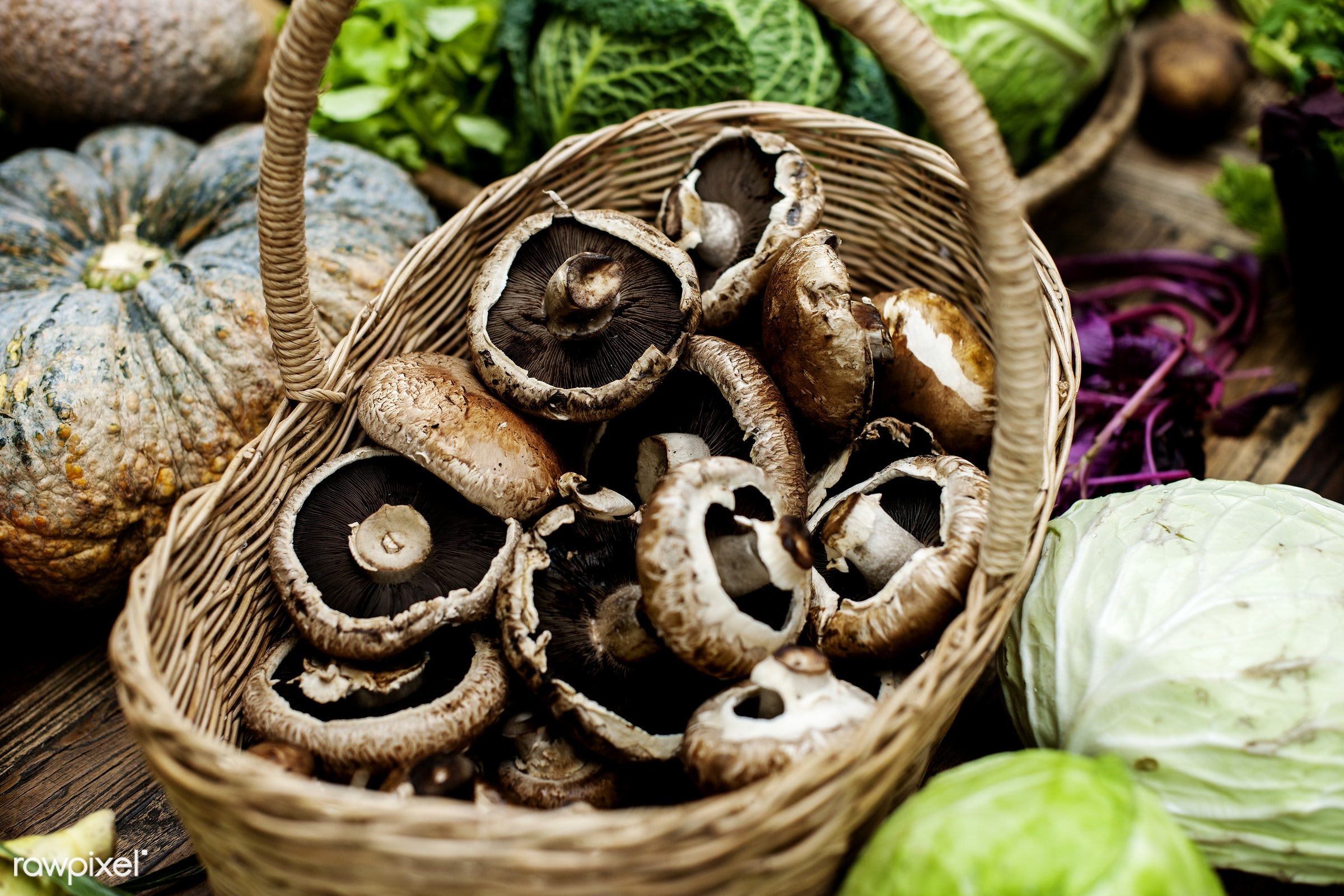 raw, plant, mushroom, nobody, ingredients, farm, real, nature, fresh, wooden basket, products, closeup, agriculture, organic...