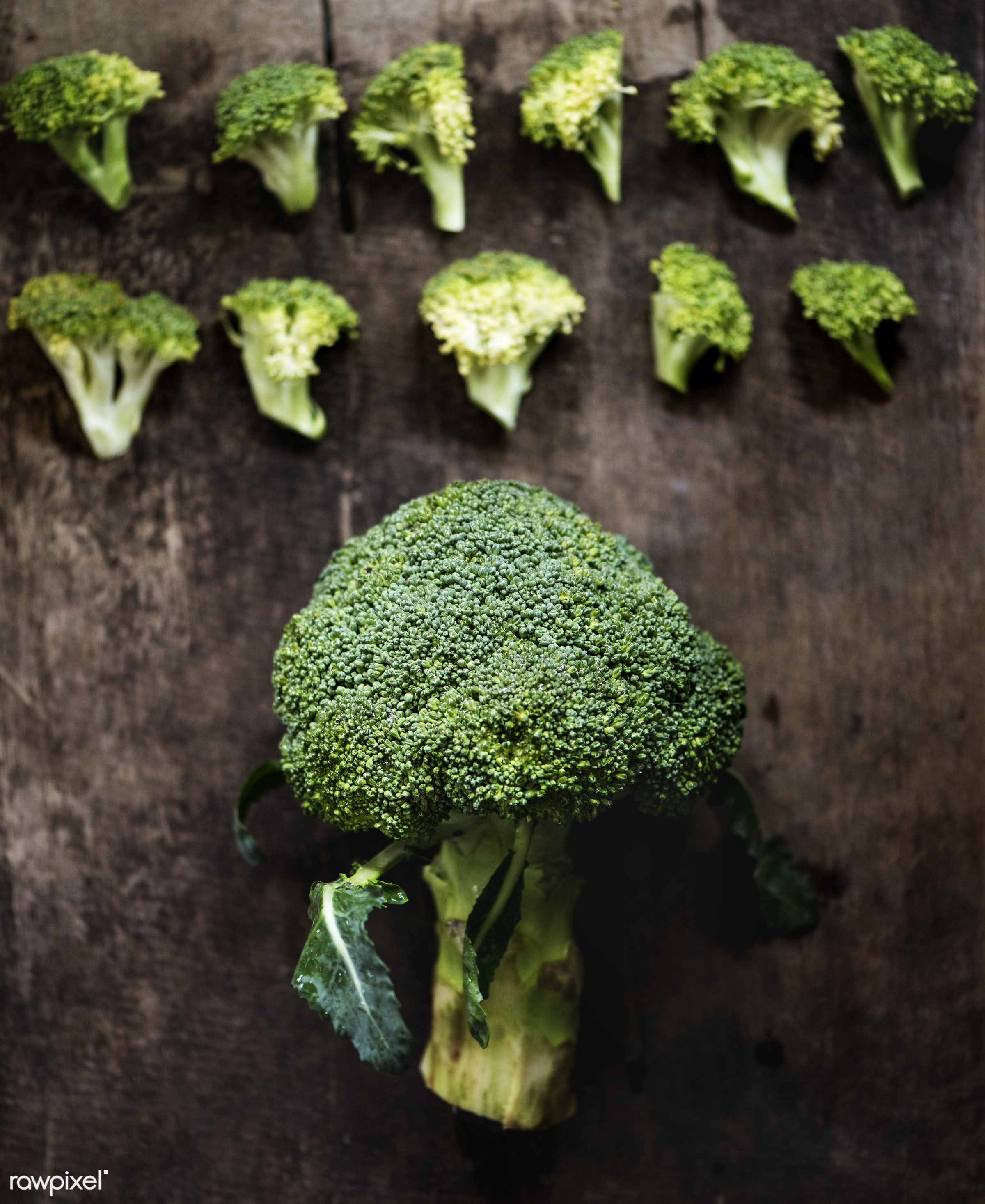 plant, raw, nobody, leaf, ingredients, farm, nature, fresh, wooden background, broccoli, aerial view, products, closeup,...